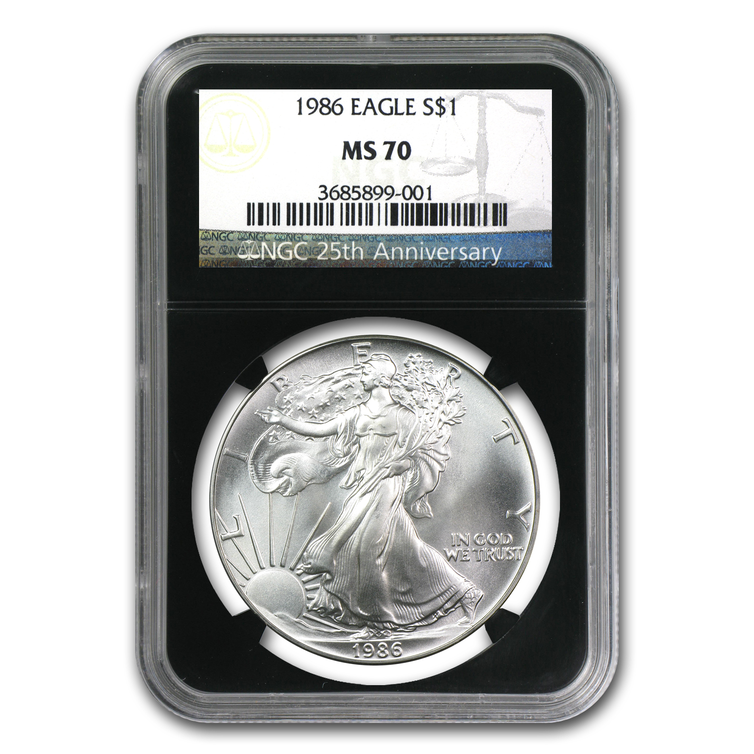1986 Silver American Eagle MS-70 NGC (Retro Black Holder)