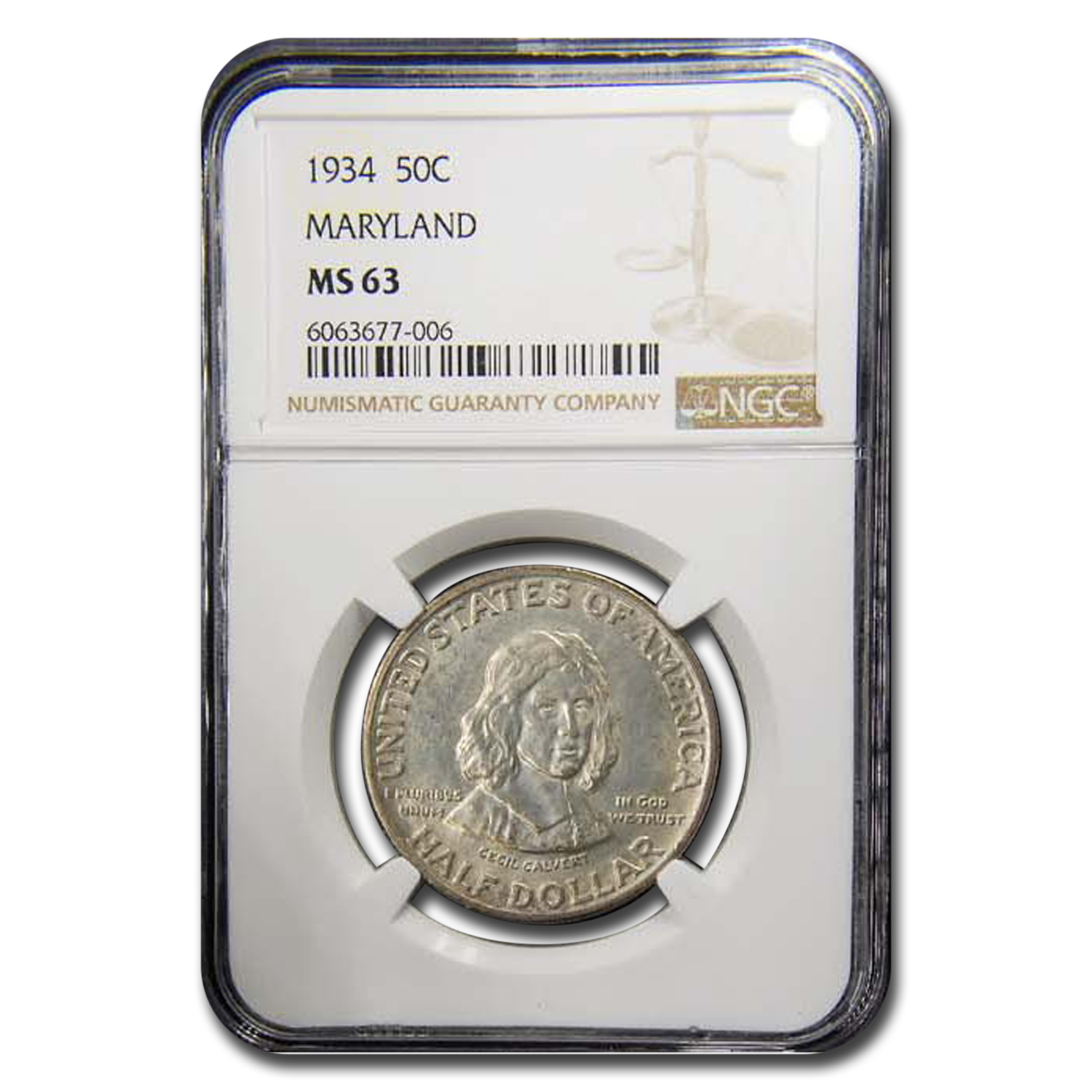1934 Maryland Tercentenary Half Dollar MS-63 NGC