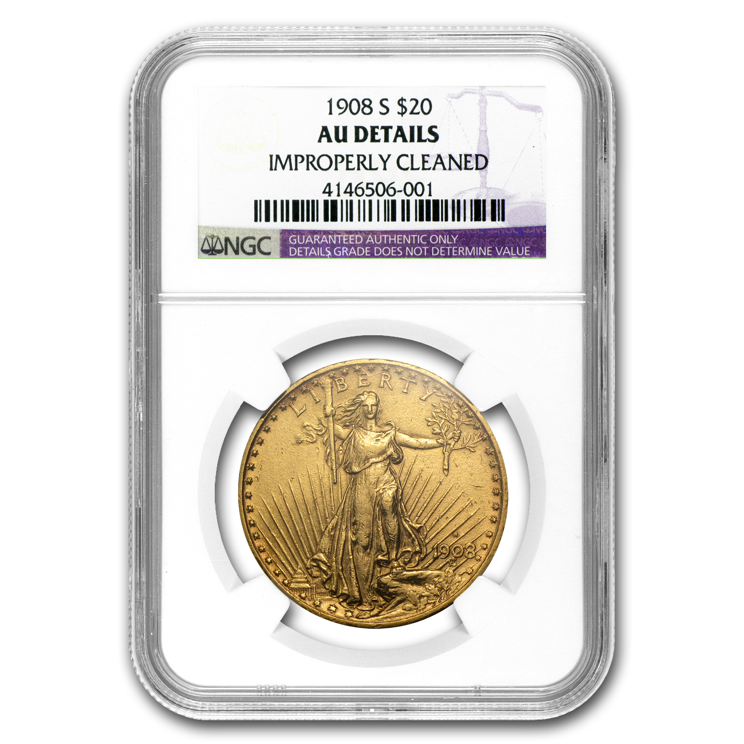 1908-S $20 Saint-Gaudens Gold Double Eagle AU Details NGC