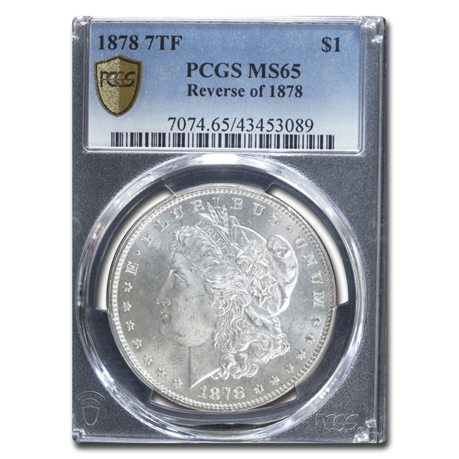 1878 Morgan Dollar 7 TF Rev of 78 MS-65 PCGS