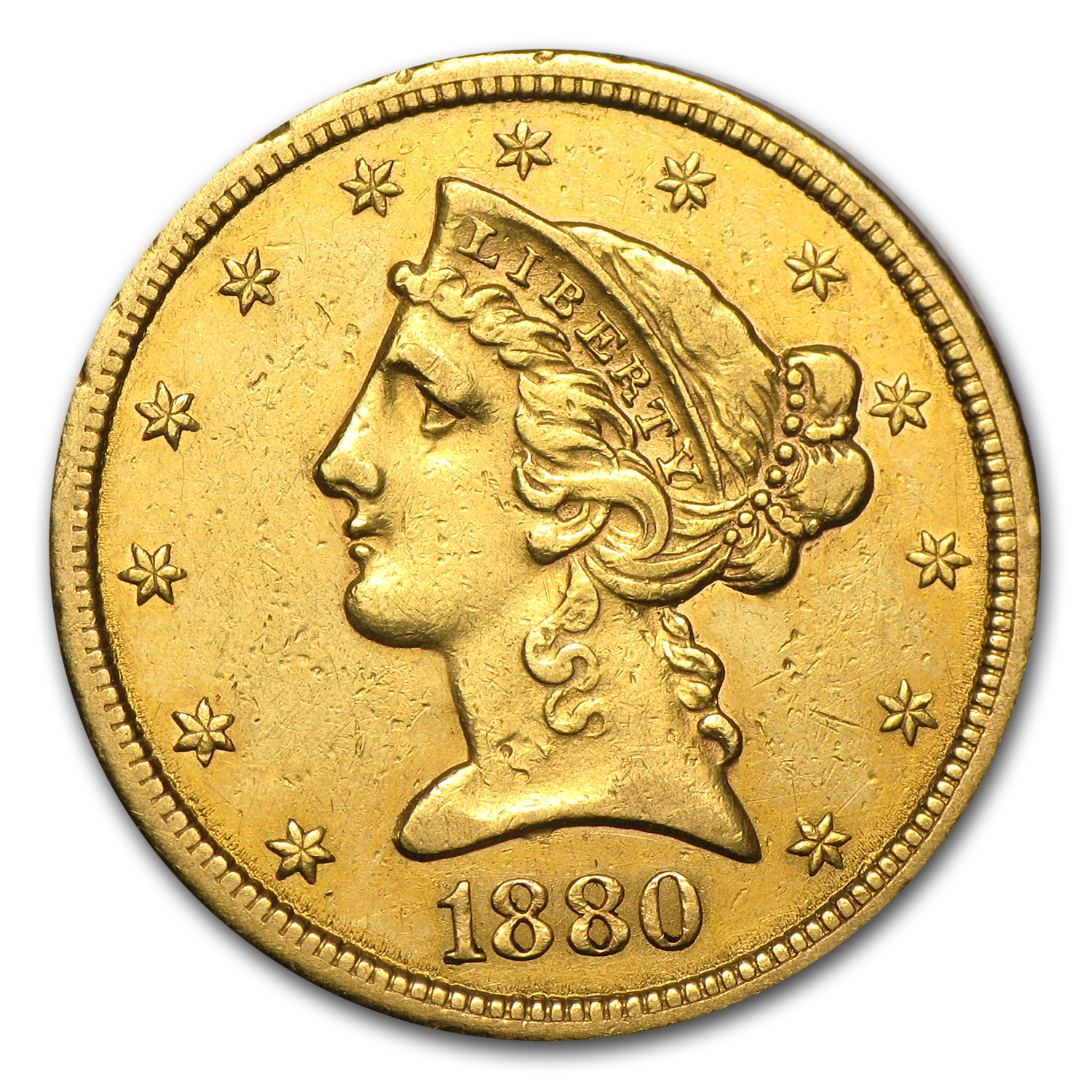 1880-CC $5 Liberty Gold Half Eagle AU Details (Cleaned)