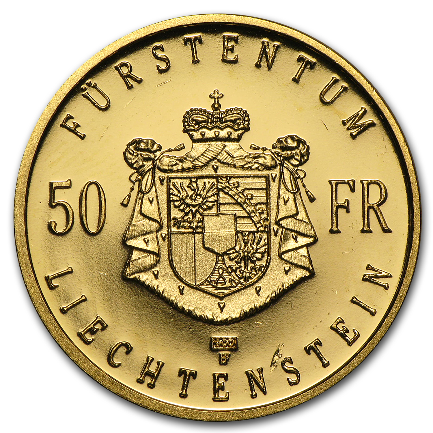 1990 Liechtenstein Gold 50 Franken Proof (AGW .2893)