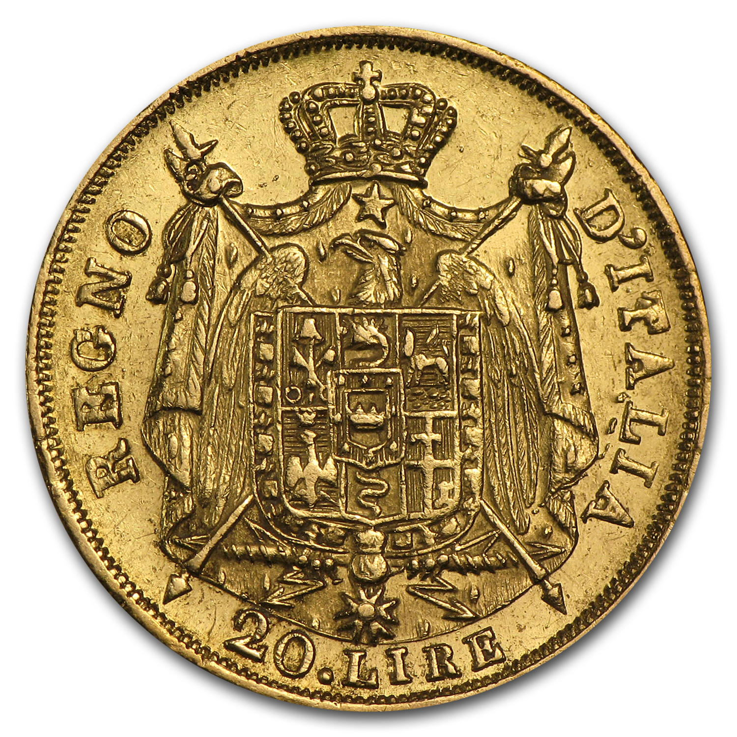 1808-1814 Kingdom of Italy Gold 20 Lire Napoleon I Avg Circ