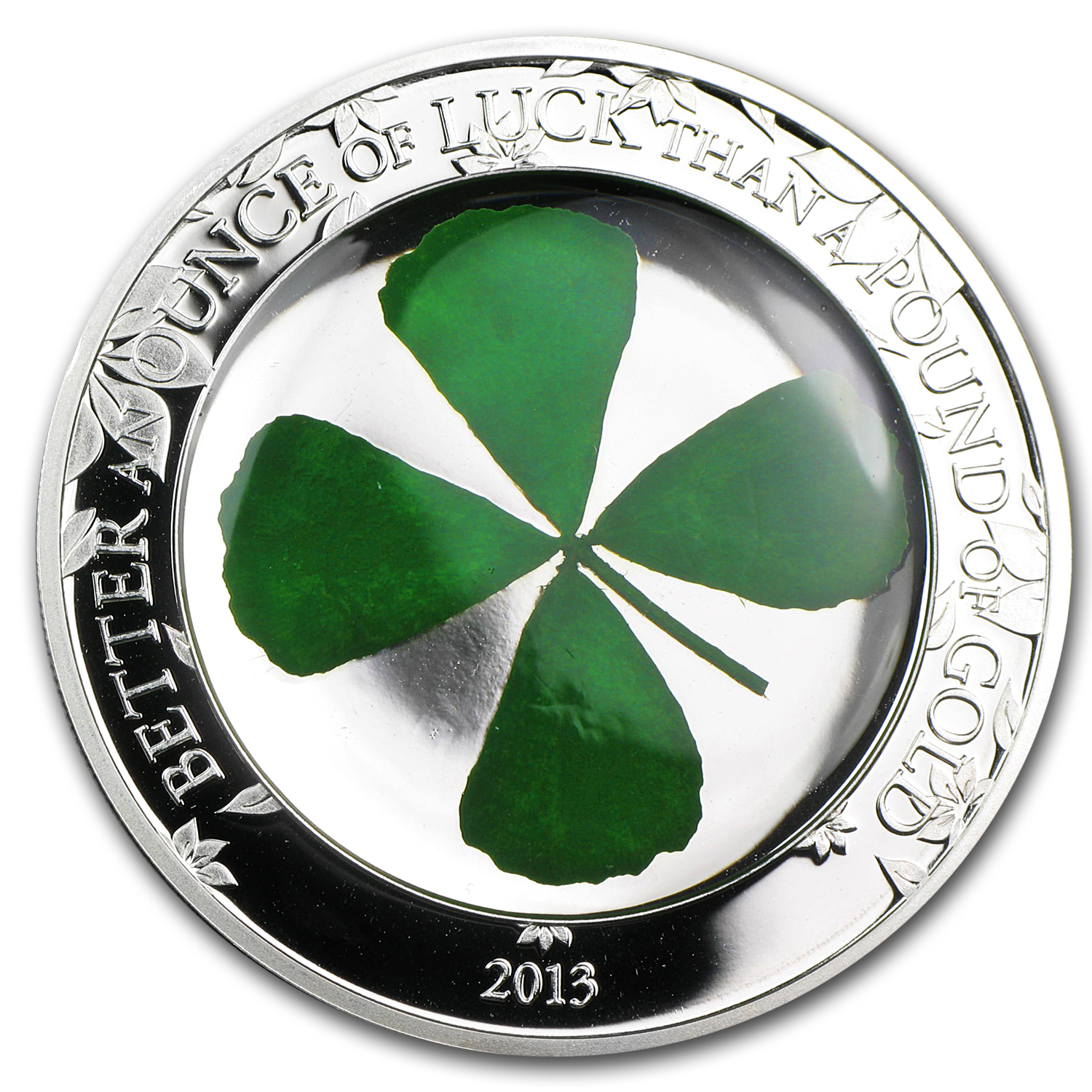 2013 Palau Proof Silver $5 Four-Leaf Clover Ounce of Luck