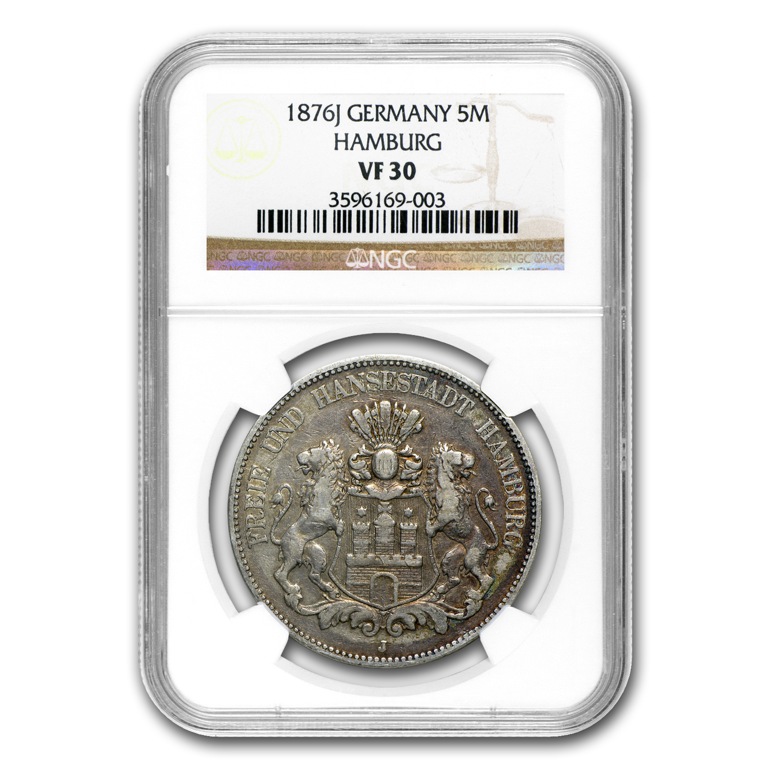 1876-J Germany Silver 5 Marks Hamburg VF-30 NGC