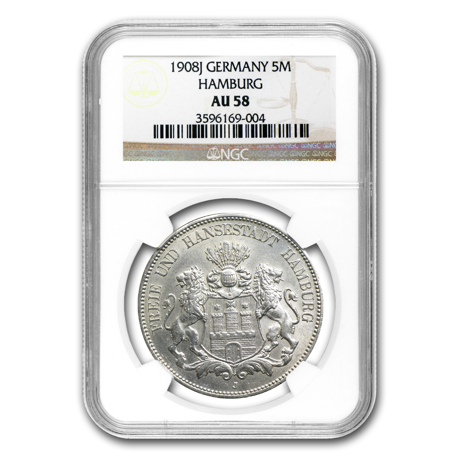Hamburg Germany 1908-J 5 Mark Silver - NGC AU-58