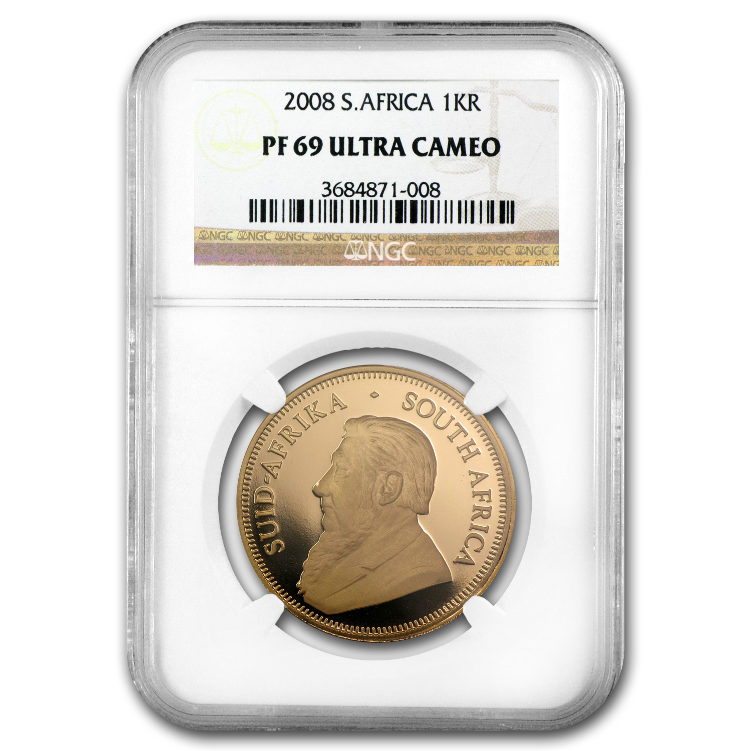 2008 1 oz Gold South African Krugerrand PF-69 NGC