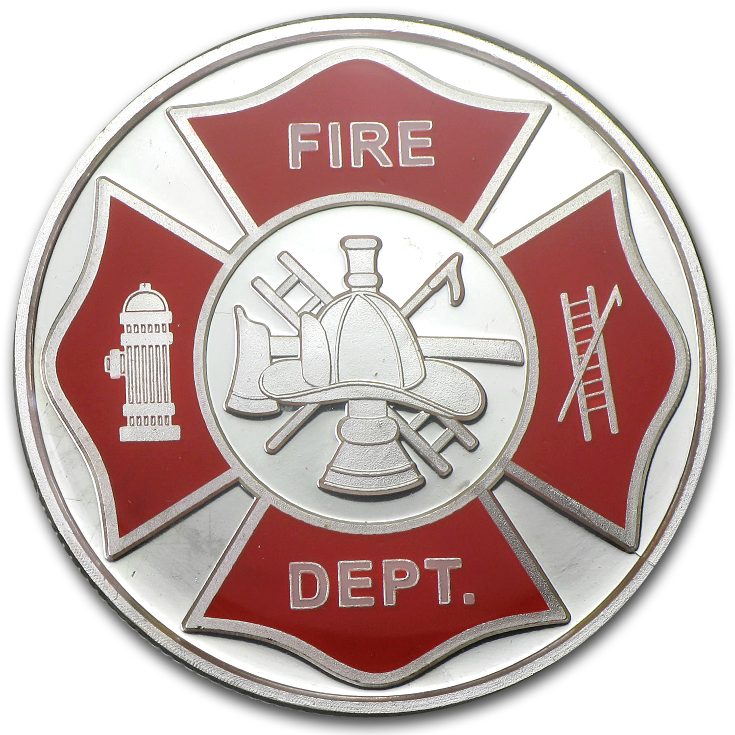1 oz Silver Round - Fire Department (Enameled, w/Box & Capsule)