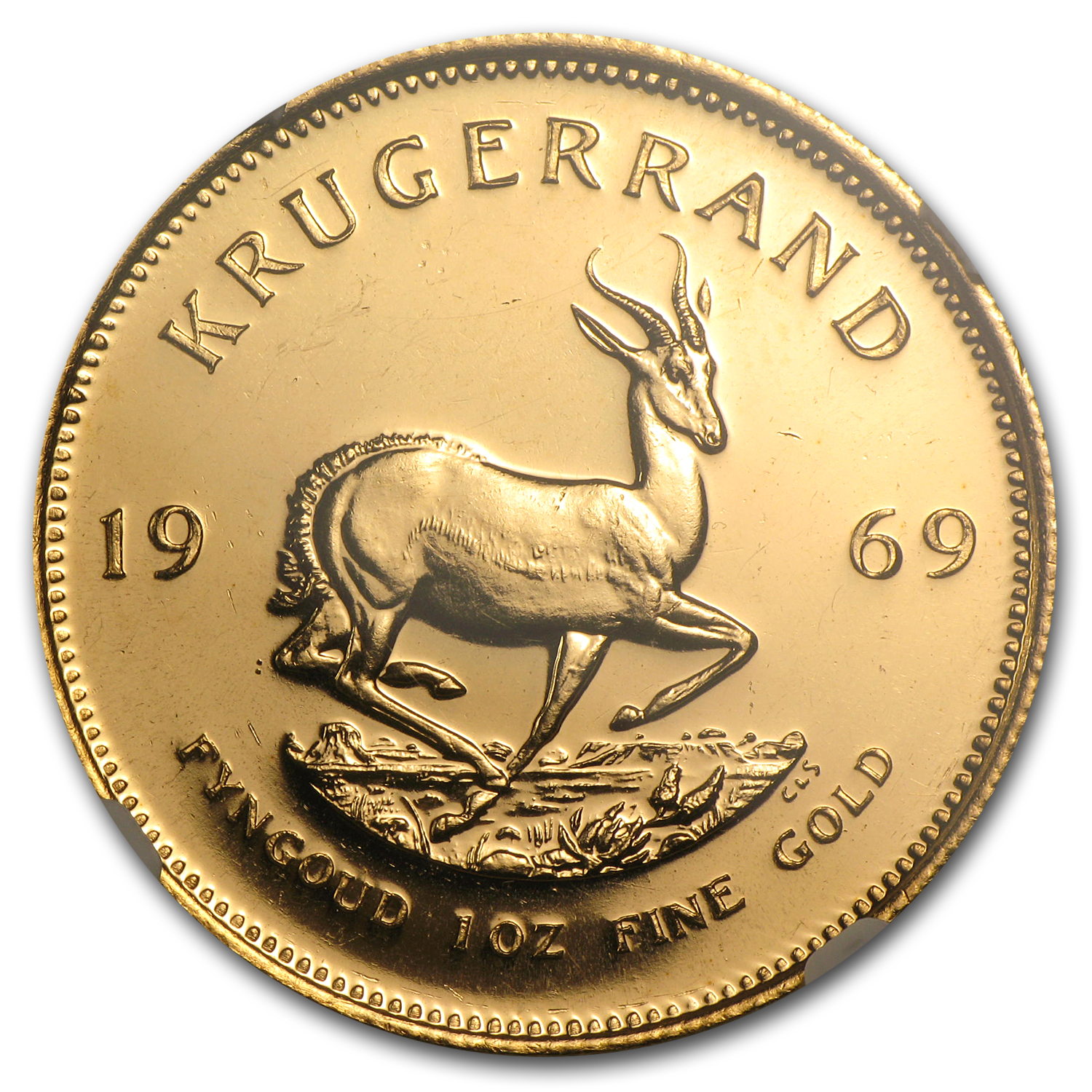 1969 South Africa 1 oz Gold Krugerrand MS-64 NGC