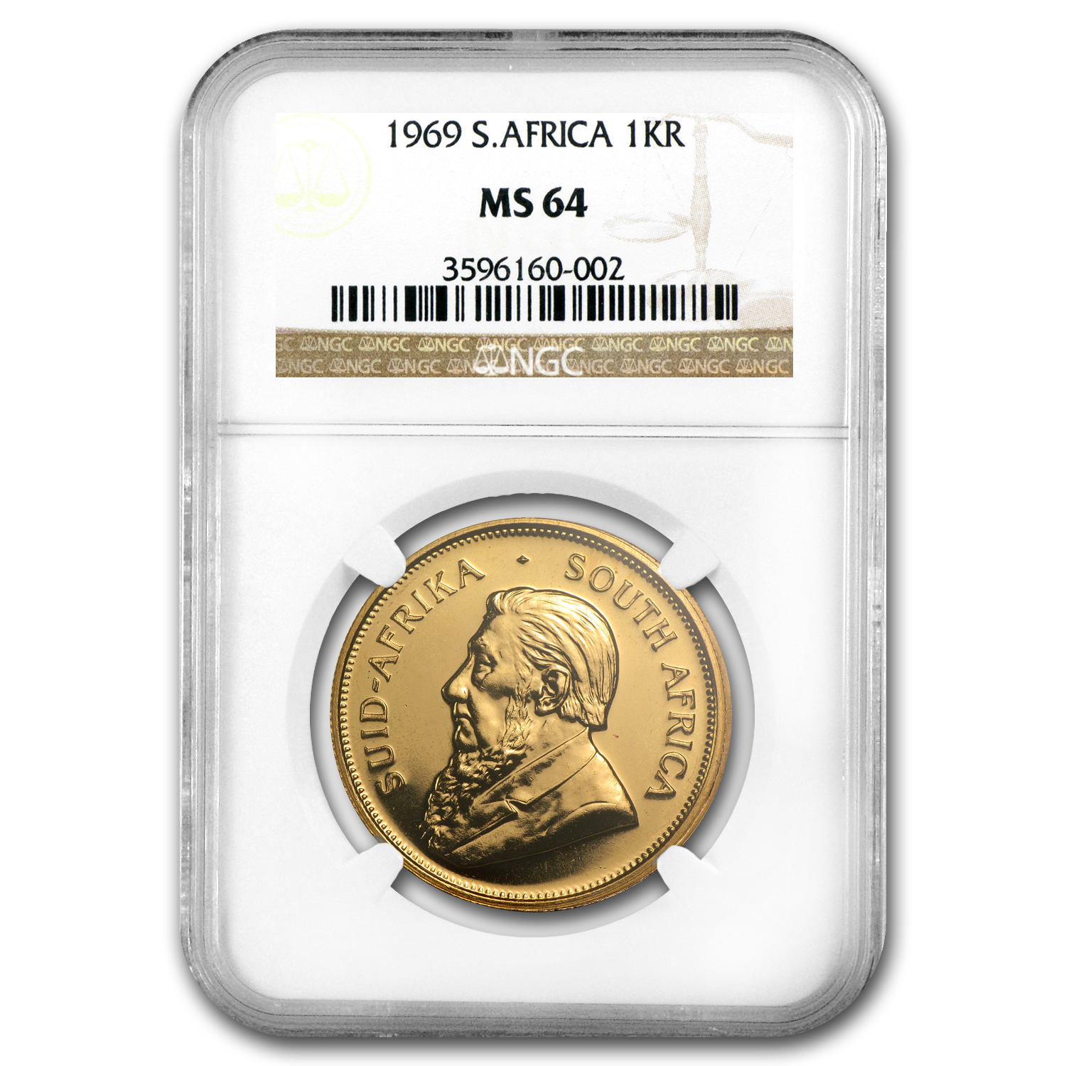 1969 1 oz Gold South African Krugerrand MS-64 NGC