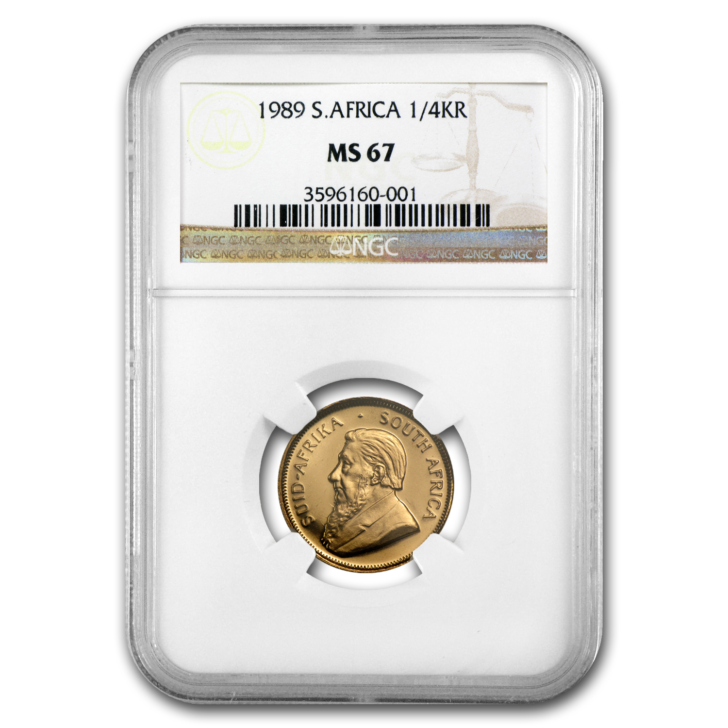 1989 1/4 oz Gold South African Krugerrand MS-67 NGC
