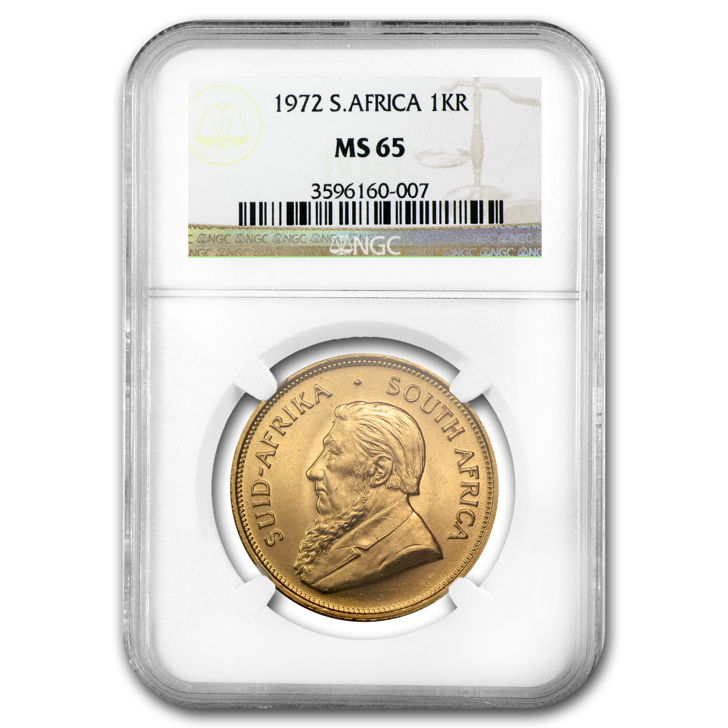 1972 South Africa 1 oz Gold Krugerrand MS-65 NGC