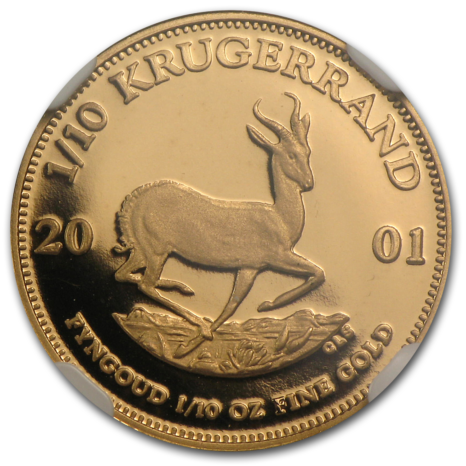 2001 1/10 oz Gold South African Krugerrand PF-69 NGC