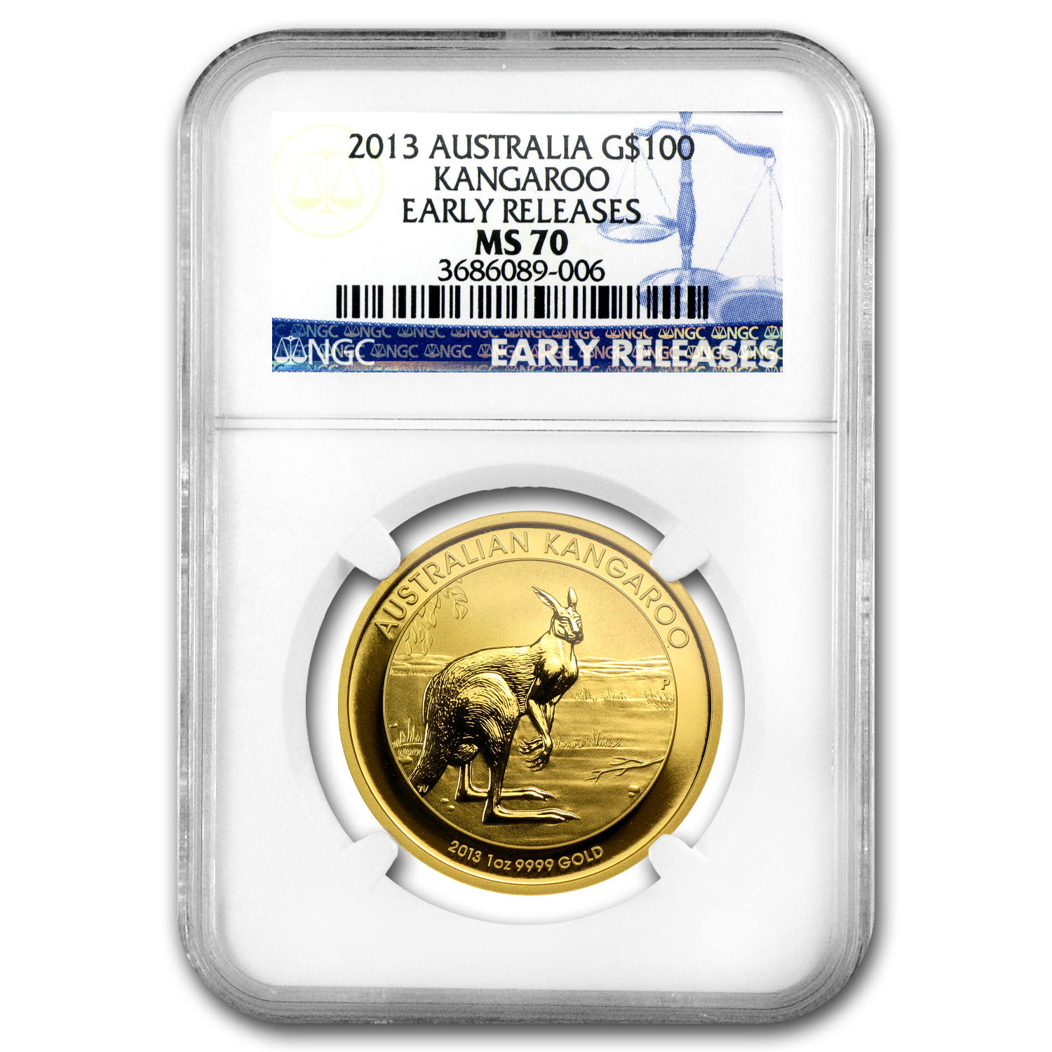 2013 Australia 1 oz Gold Kangaroo MS-70 NGC (Early Releases)
