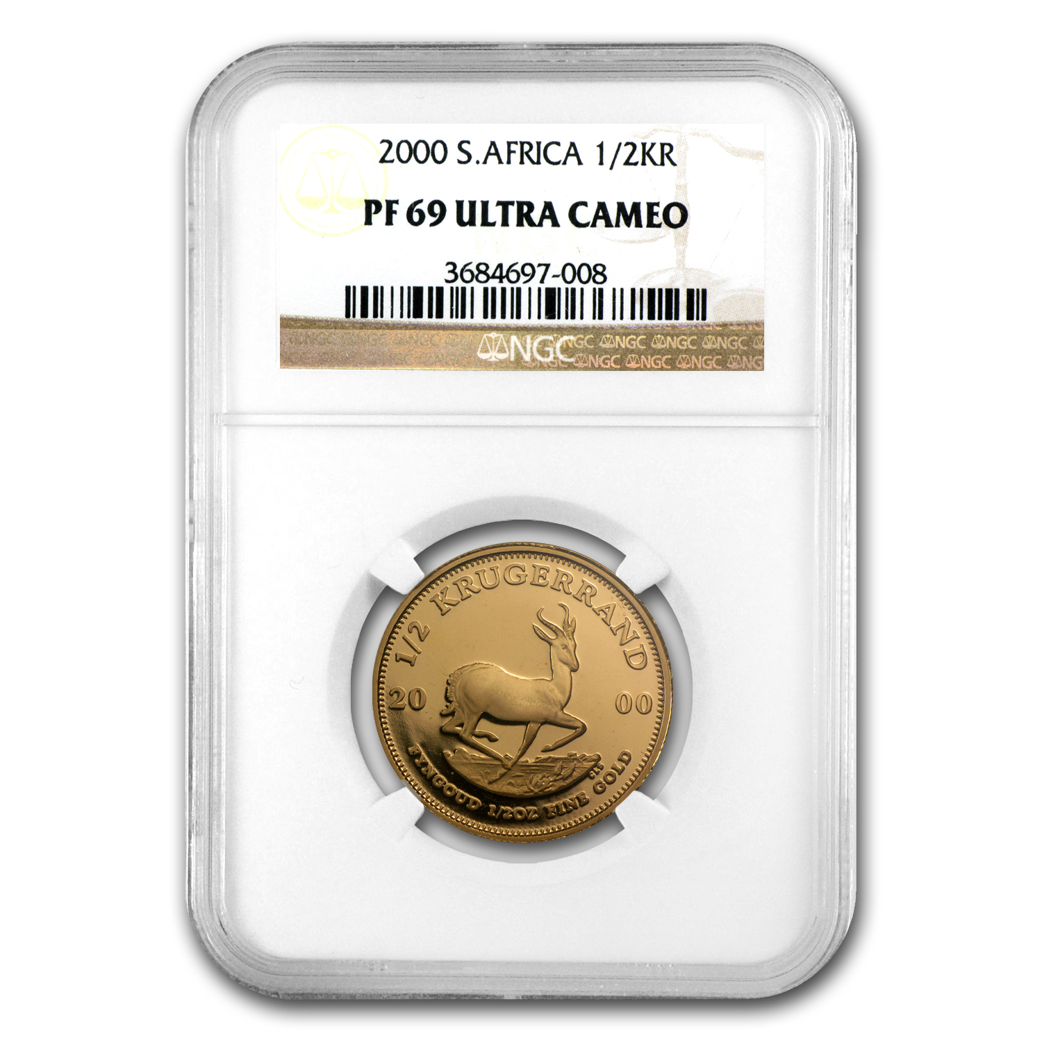2000 South Africa 1/2 oz Gold Krugerrand PF-69 NGC