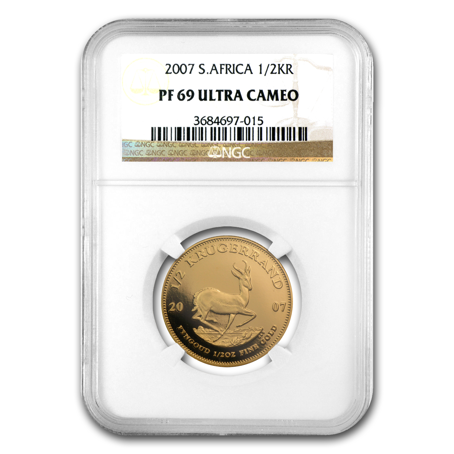 2007 1/2 oz Gold South African Krugerrand PF-69 NGC