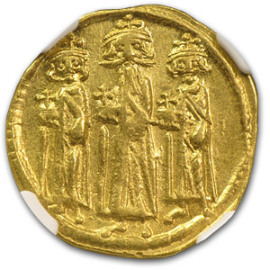 Byzantine Gold Heraclius Ch XF NGC (610-641 AD)
