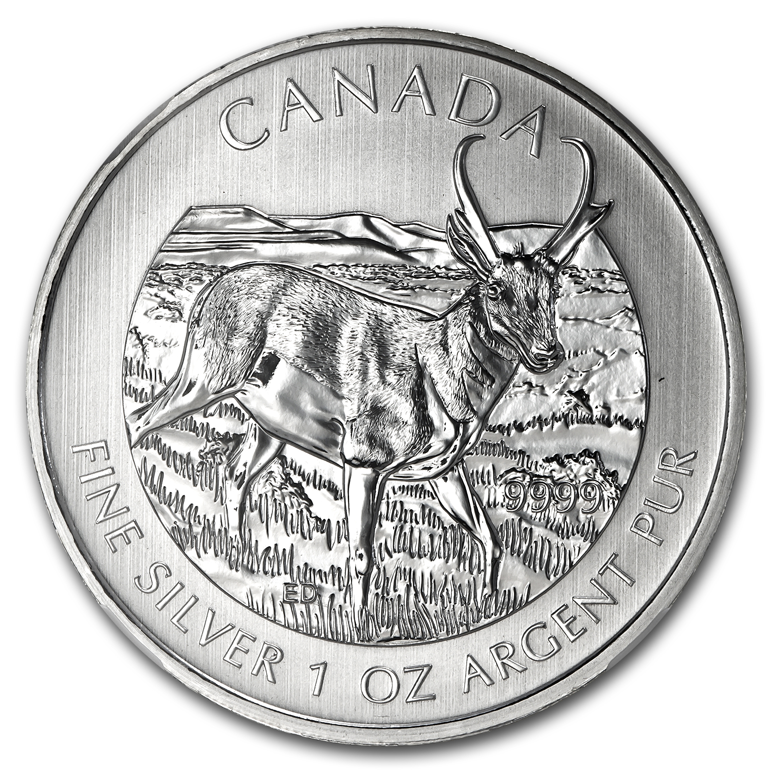 2013 1 oz Silver Canadian Wildlife Series - Antelope MS-69 NGC