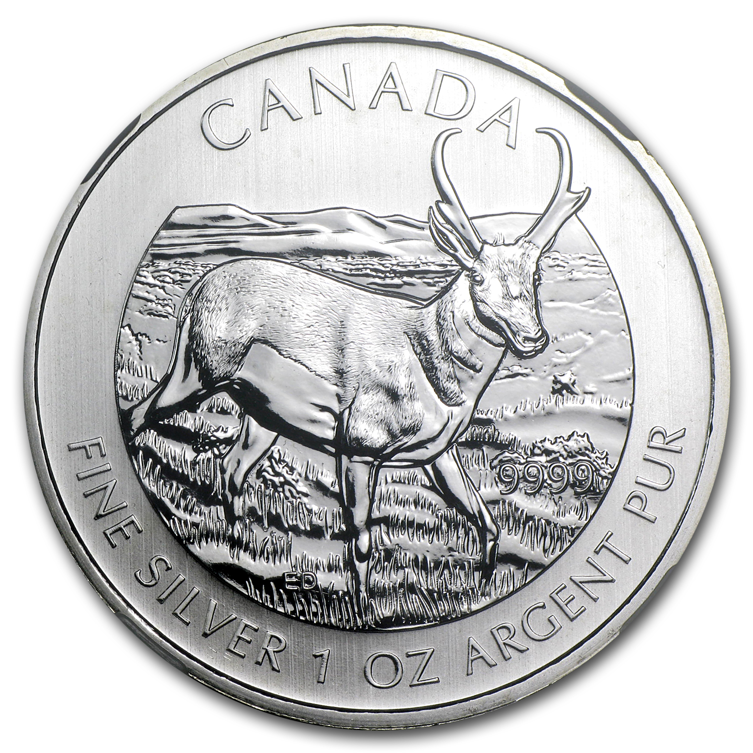 2013 1 oz Silver Canadian Wildlife Series - Antelope MS-68 NGC