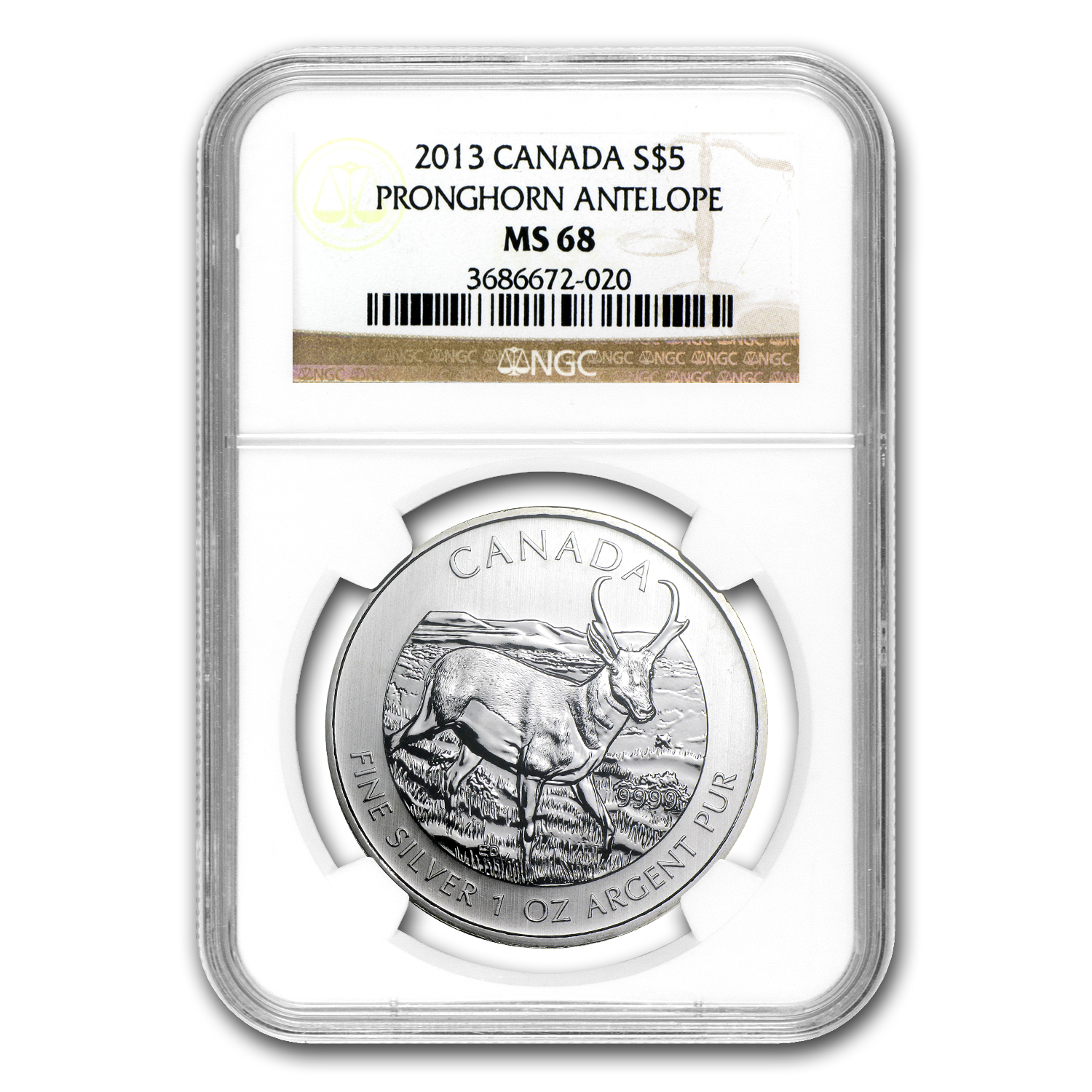 2013 1 oz Silver Canadian Wildlife Series Antelope MS-68 NGC