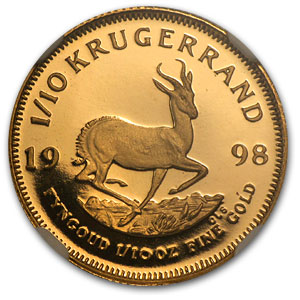 1998 1/10 oz Gold South African Krugerrand PF-69 NGC
