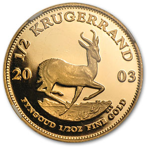 2003 1/2 oz Gold South African Krugerrand PF-66 NGC