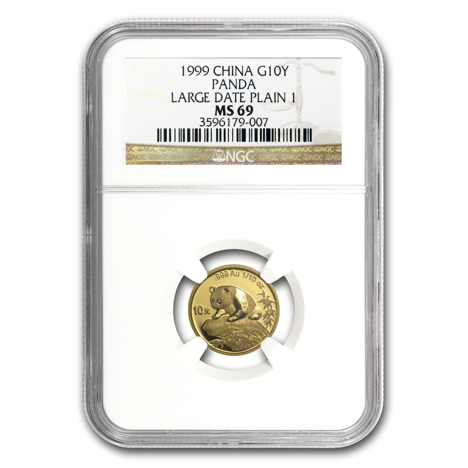 1999 China 1/10 oz Gold Panda Large Date/Plain 1 MS-69 NGC