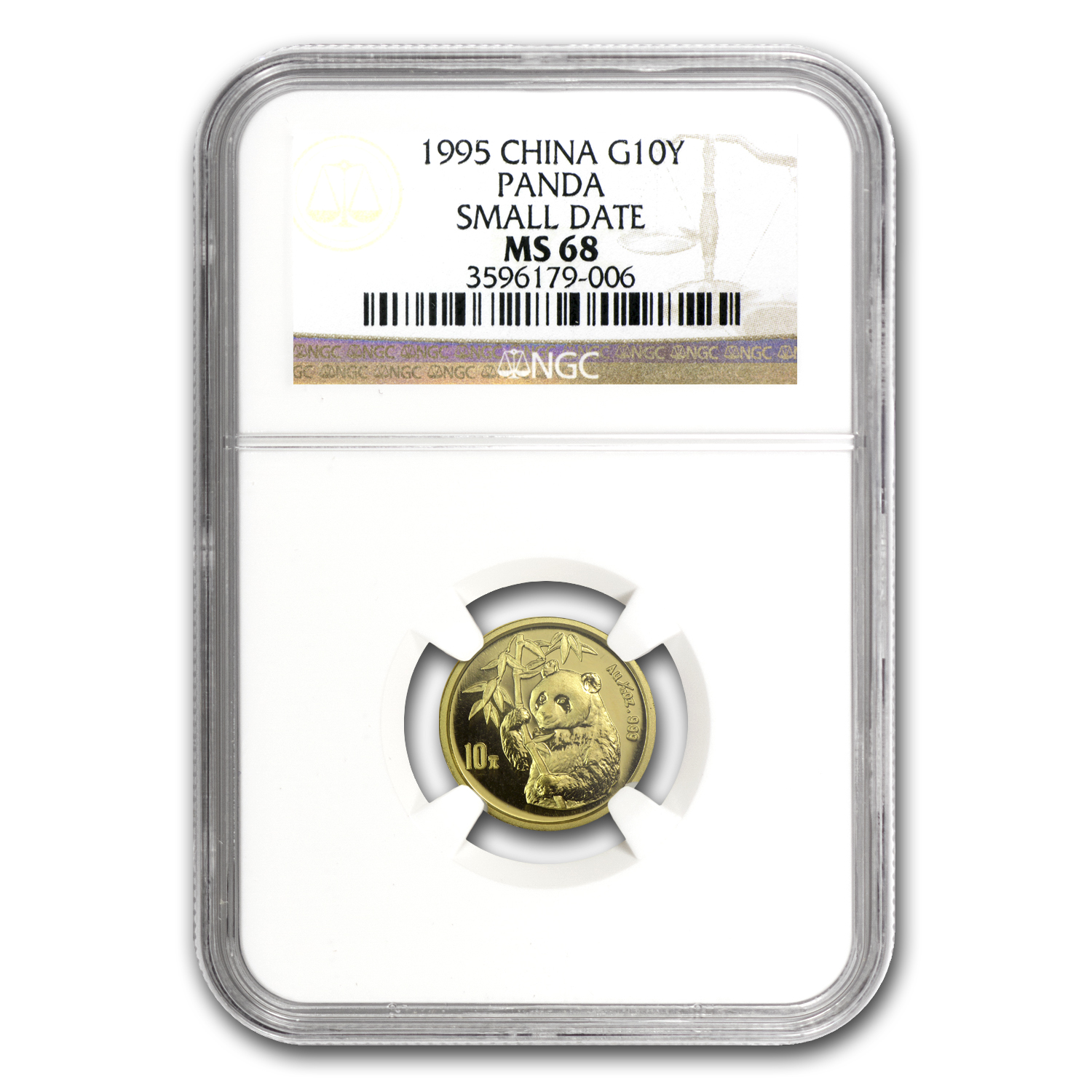 1995 China 1/10 oz Gold Panda Small Date MS-68 NGC