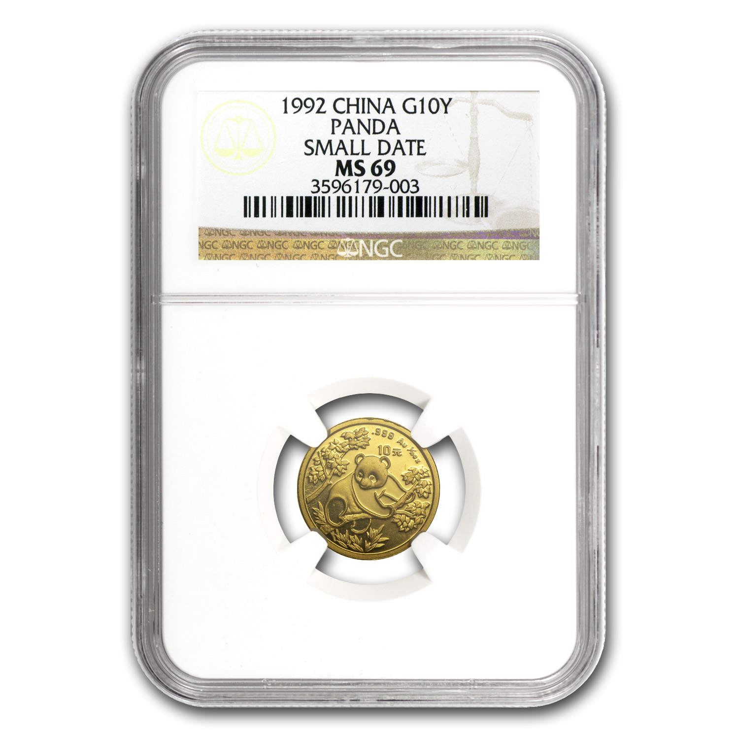1992 China 1/10 oz Gold Panda Small Date MS-69 NGC