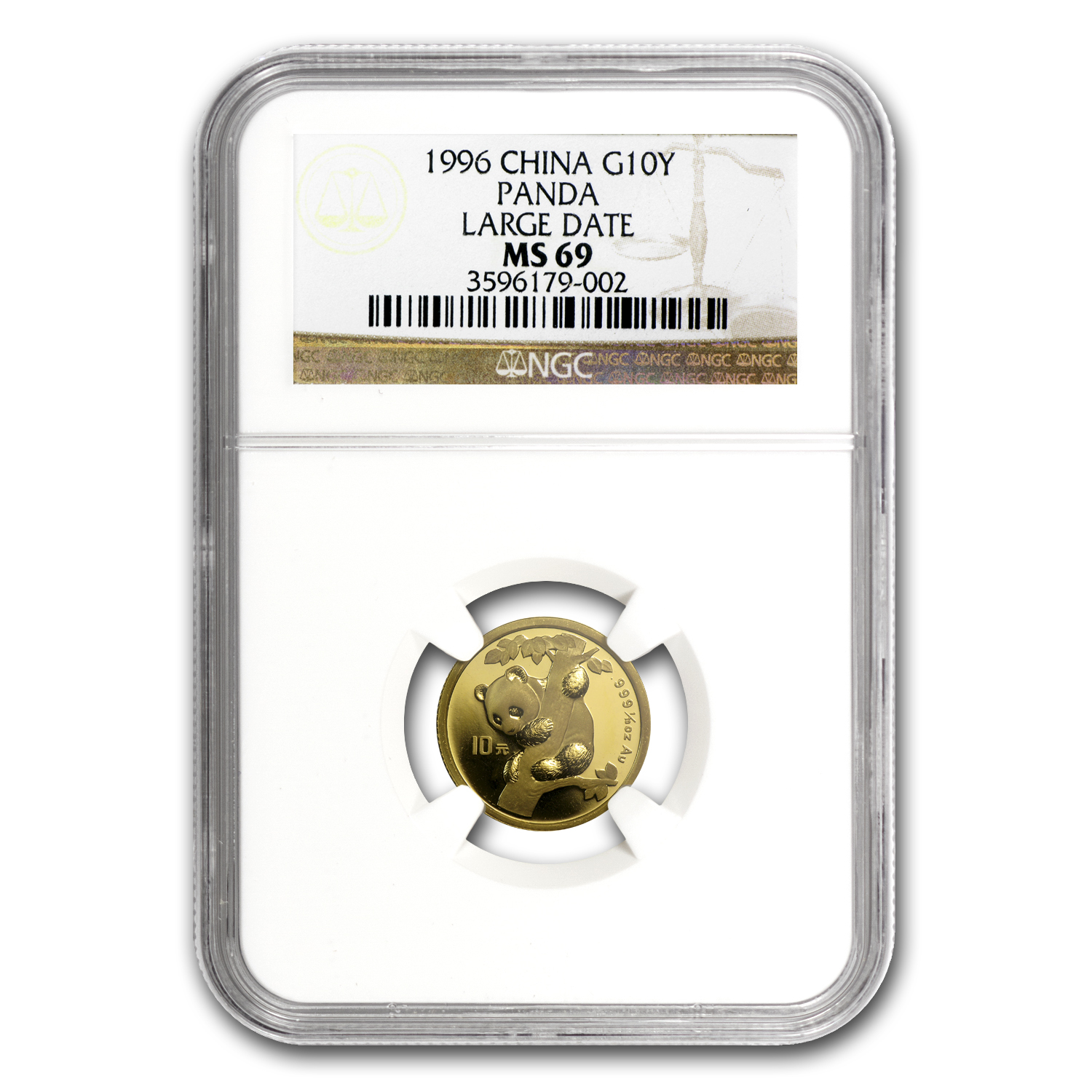 1996 China 1/10 oz Gold Panda Large Date MS-69 NGC