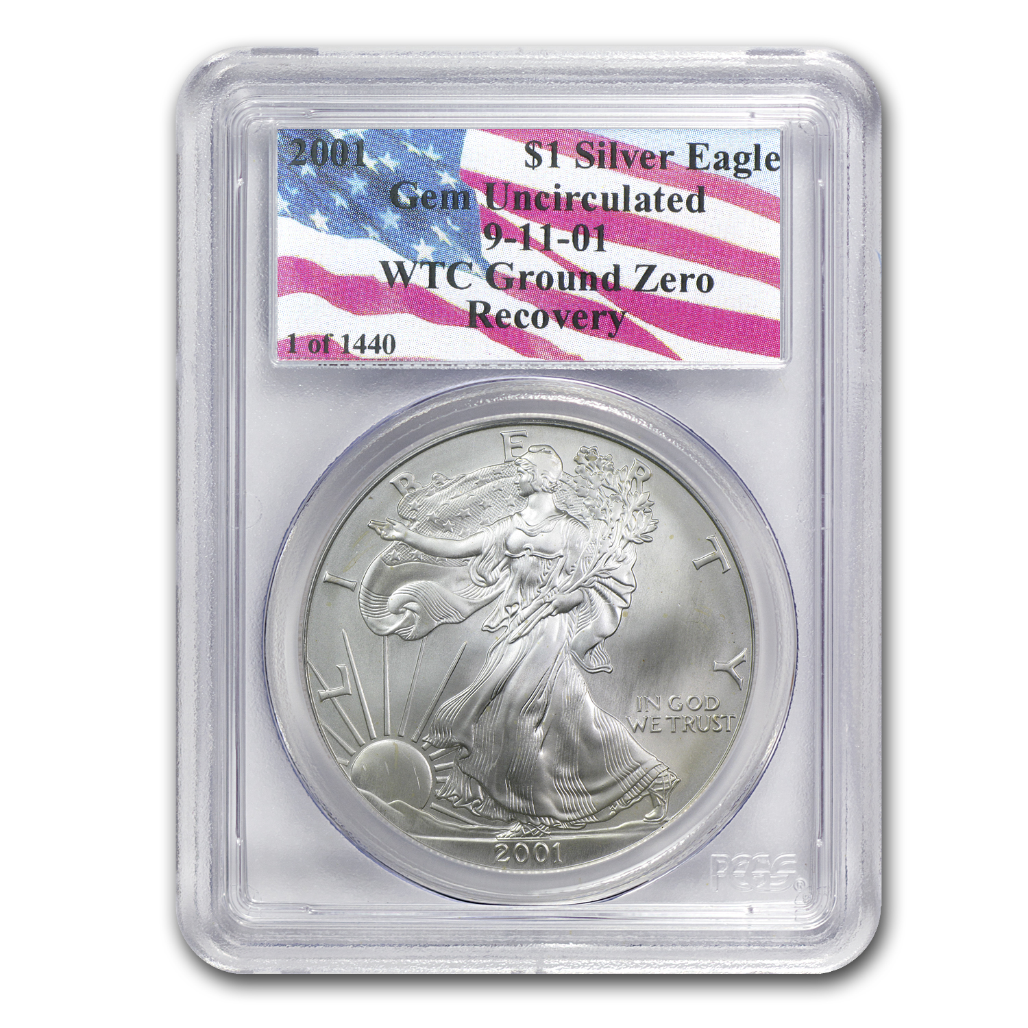 2001 Silver American Eagle Gem BU PCGS (1 of 1440, WTC)