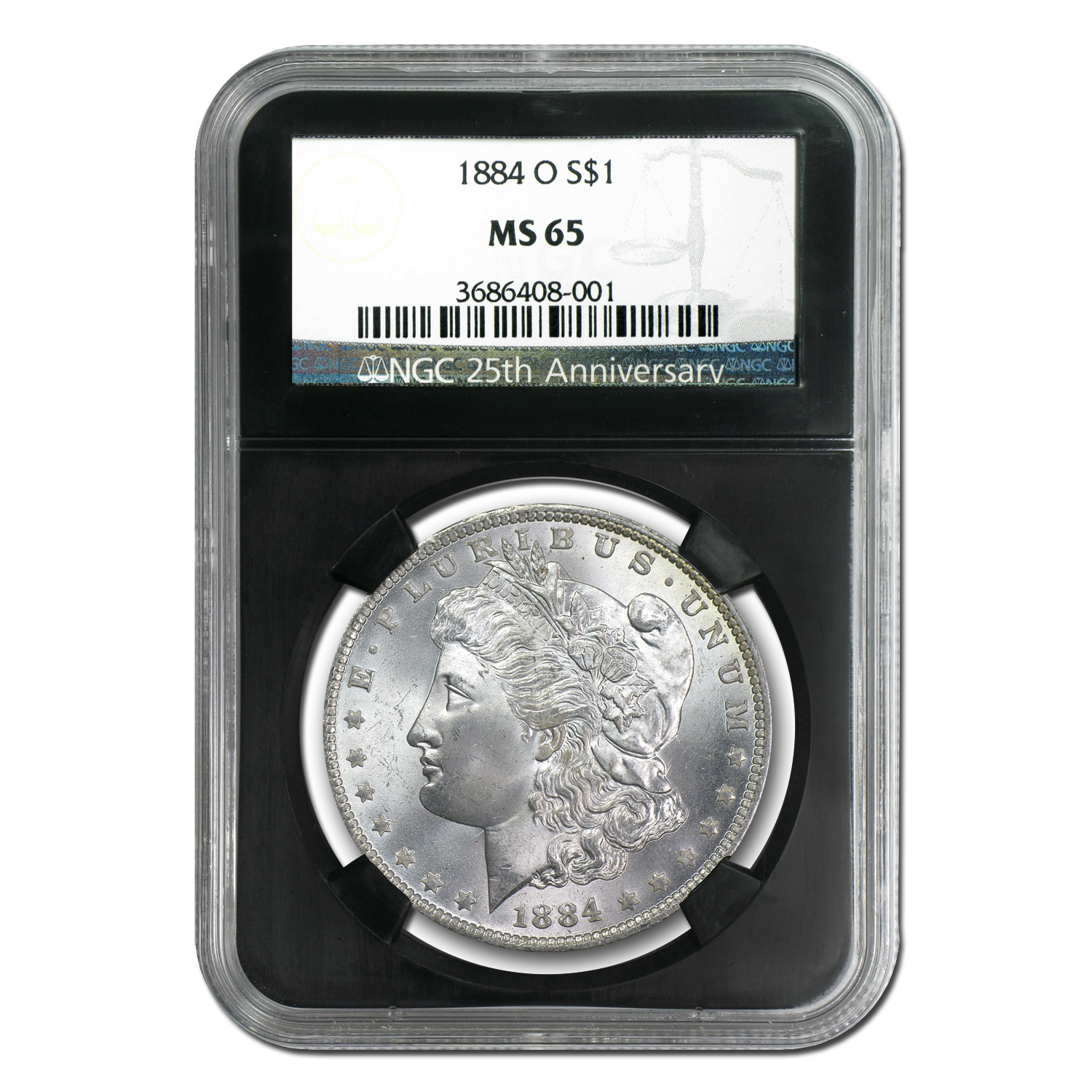 1878-1904 Morgan Dollars - MS-65 NGC Black Holder - 25th Ann
