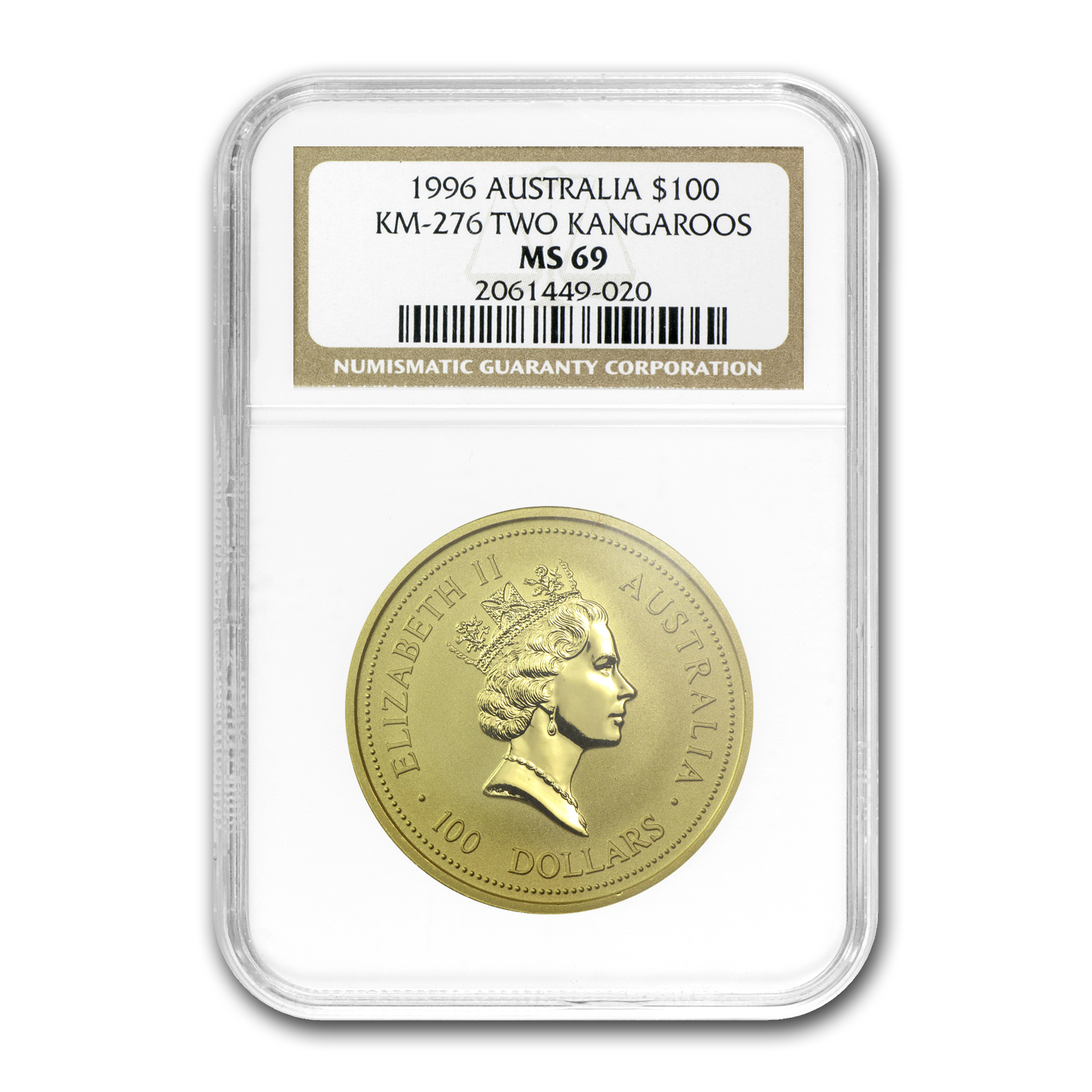 1996 1 oz Australian Gold Nugget NGC MS-69