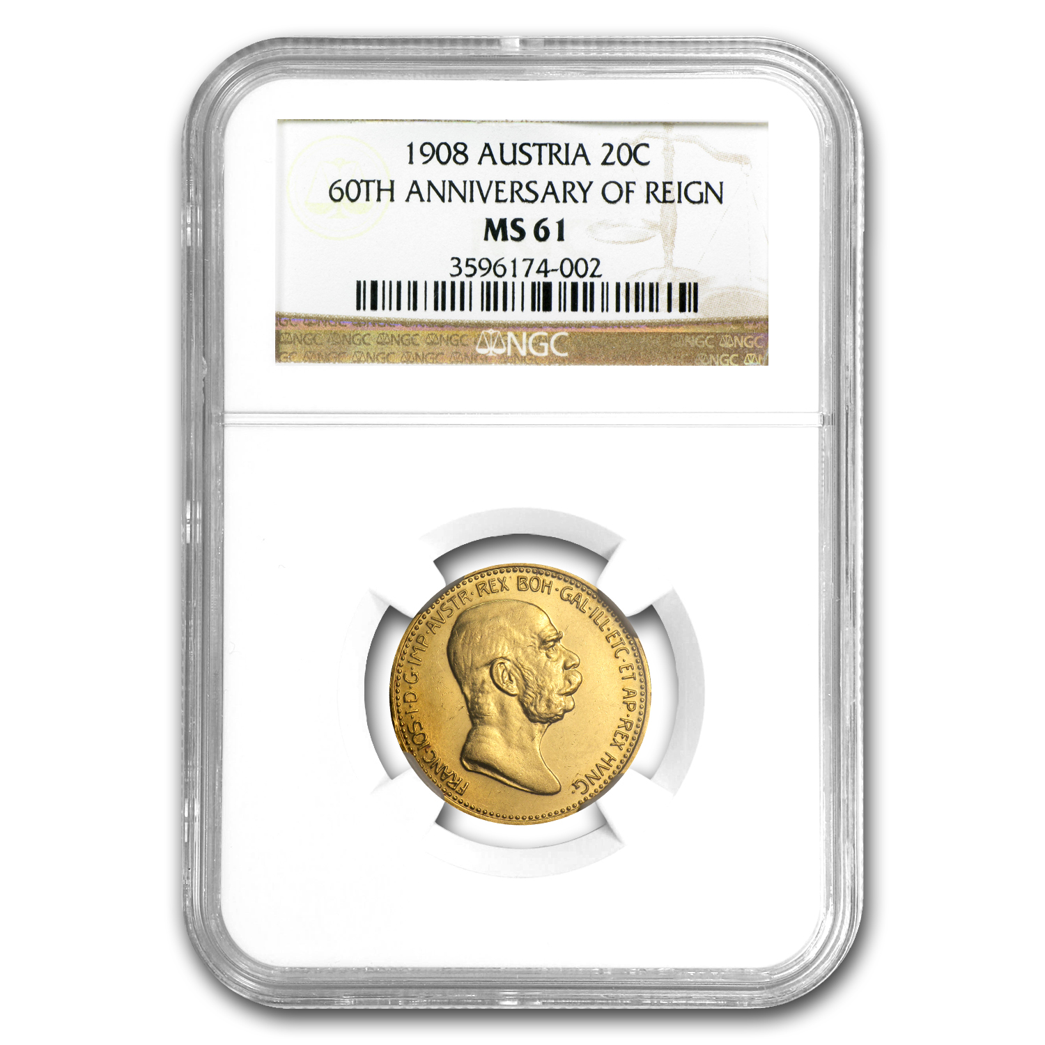 1908 Austria Gold 20 Corona 60th Anniversary MS-61 NGC
