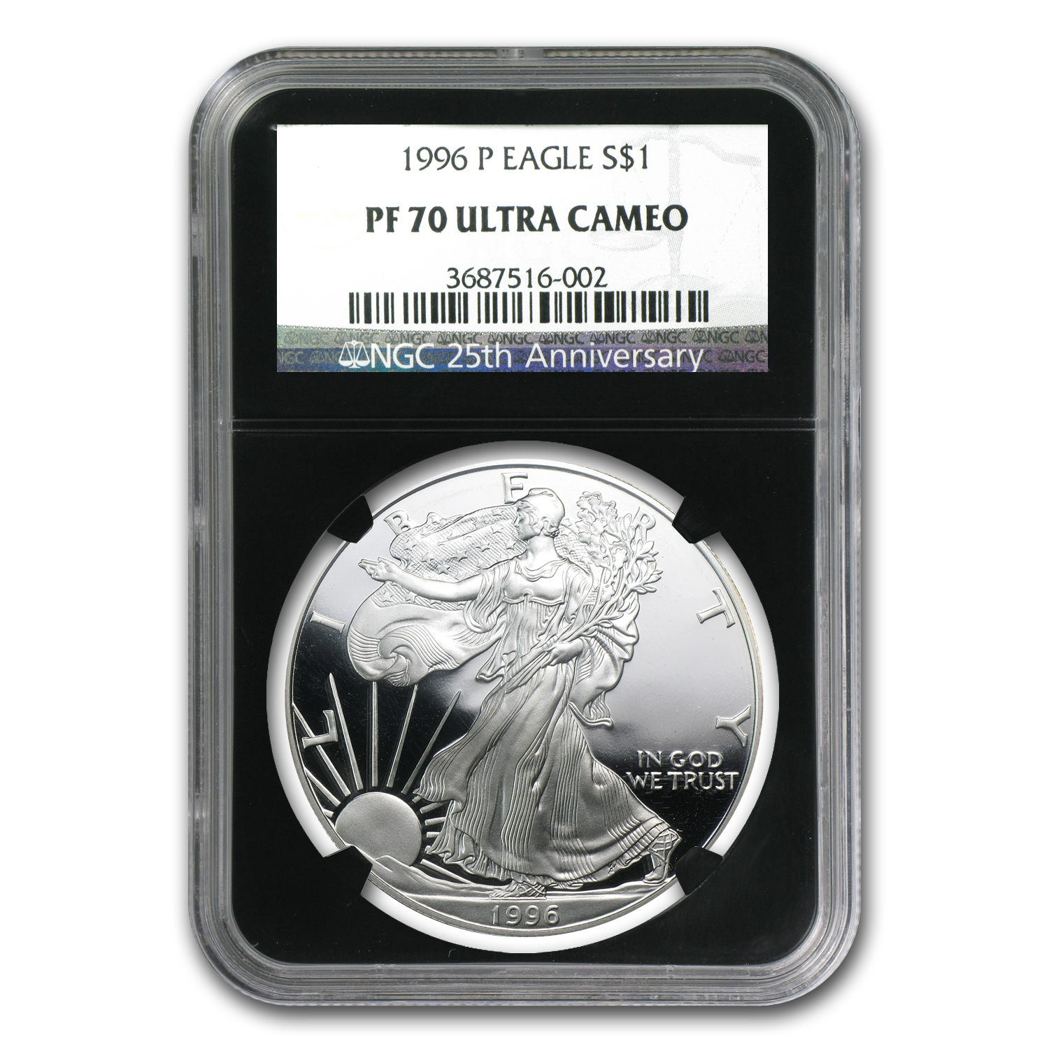 1996-P Proof Silver American Eagle PF-70 NGC (Retro Black Insert)