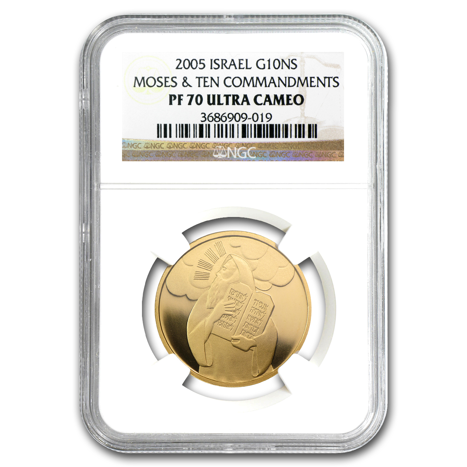 2005 Israel 1/2 oz Prf Gold Moses & Ten Commandments PF-70 NGC