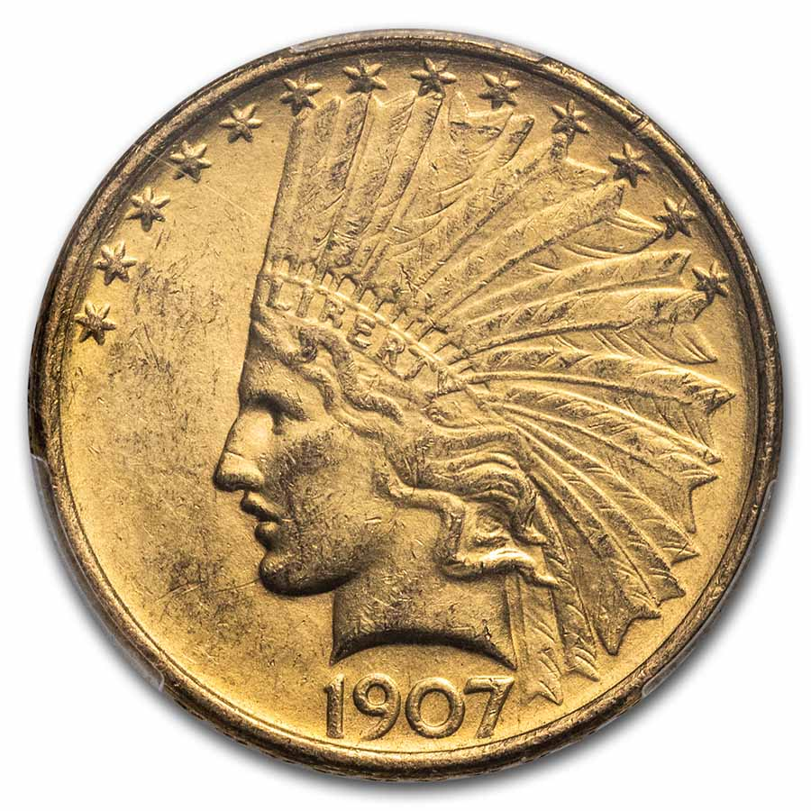 1907 $10 Indian Gold Eagle - No Motto - MS-61 PCGS