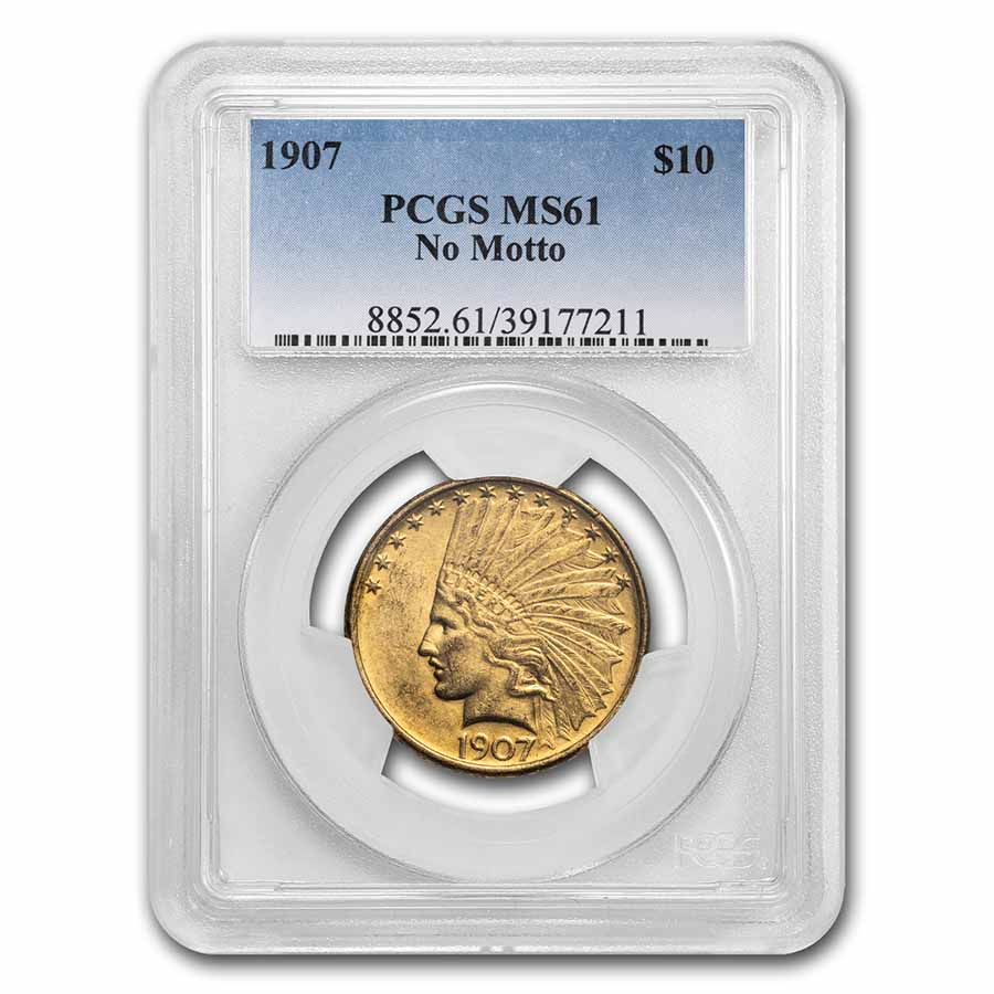 1907 $10 Indian Gold Eagle No Motto MS-61 PCGS
