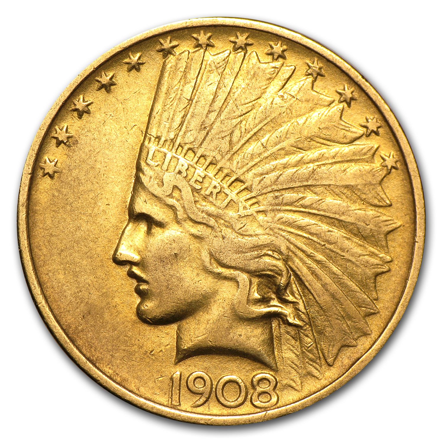 1908 $10 Indian Gold Eagle No Motto (Cleaned)