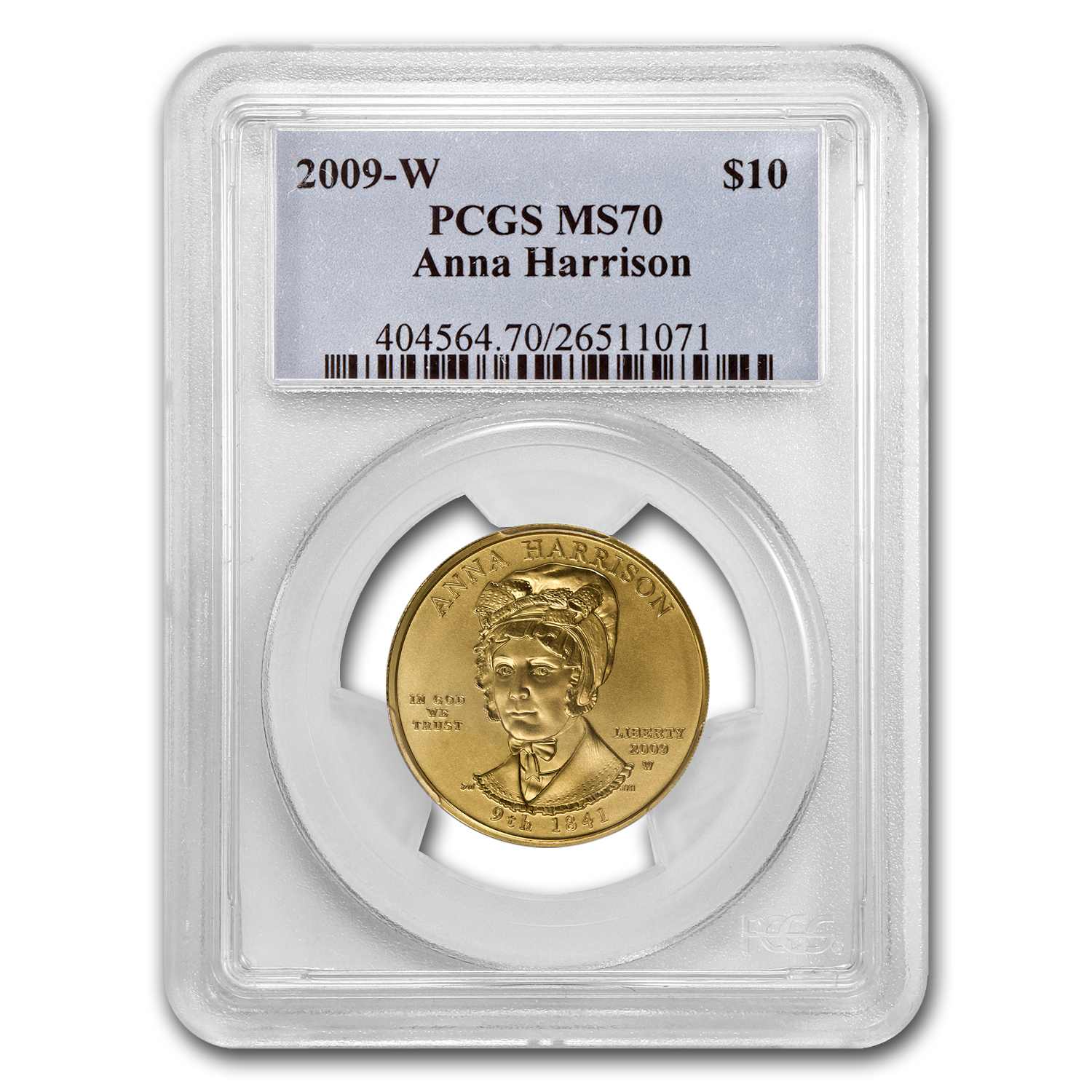 2009-W 1/2 oz Gold Anna Harrison MS-70 PCGS