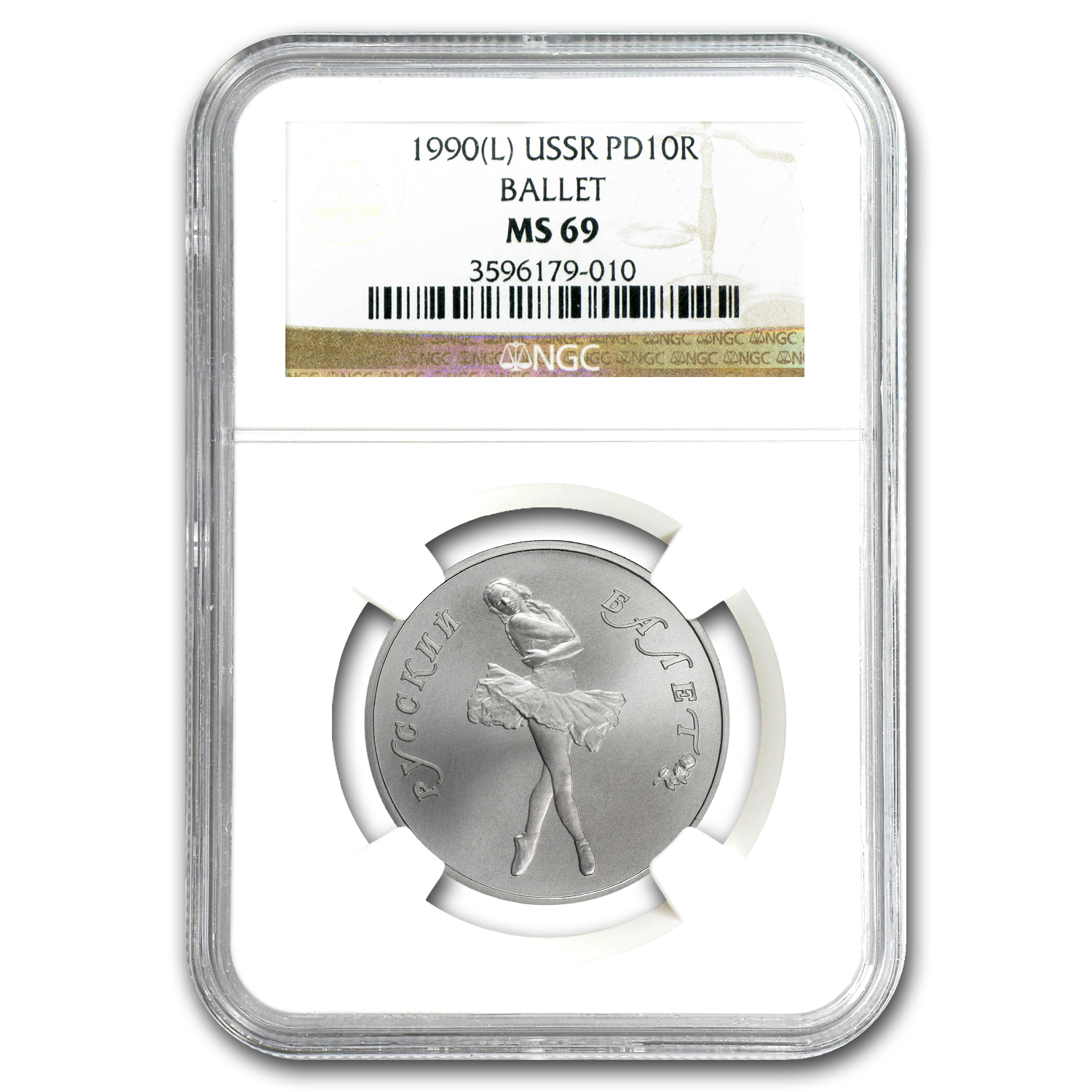 1990 1/2 oz Russian Palladium Ballerina MS-69 NGC