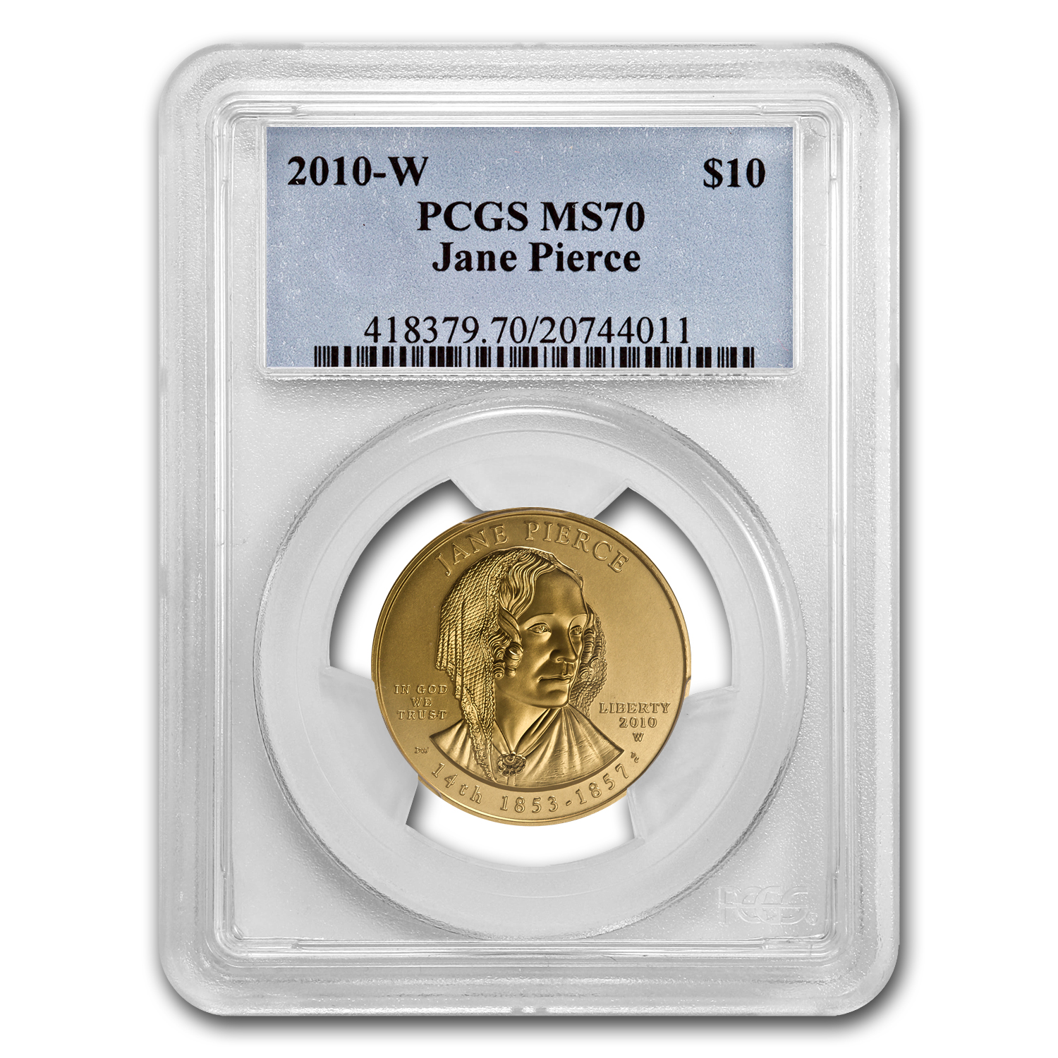 2010-W 1/2 oz Gold Jane Pierce MS-70 PCGS