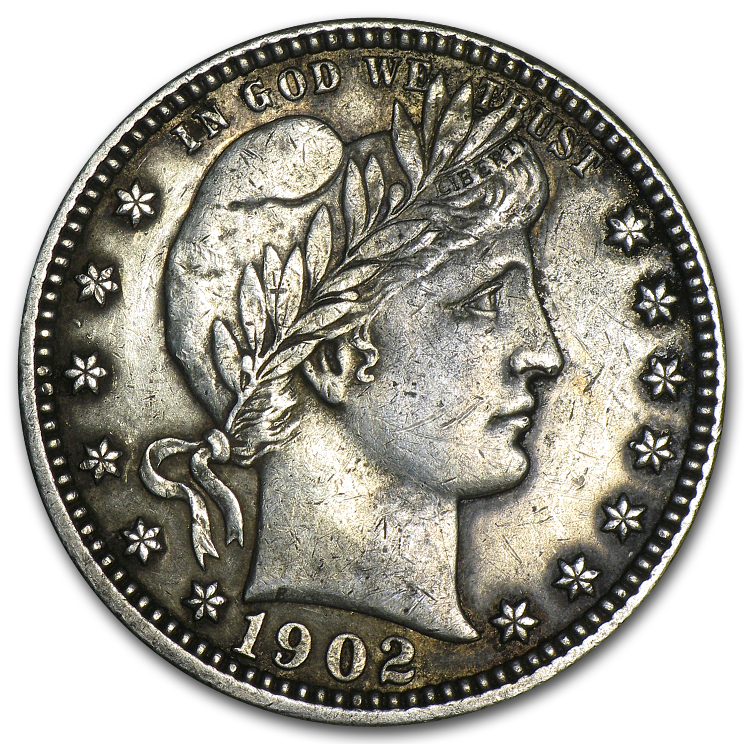 1902-O Barber Quarter XF