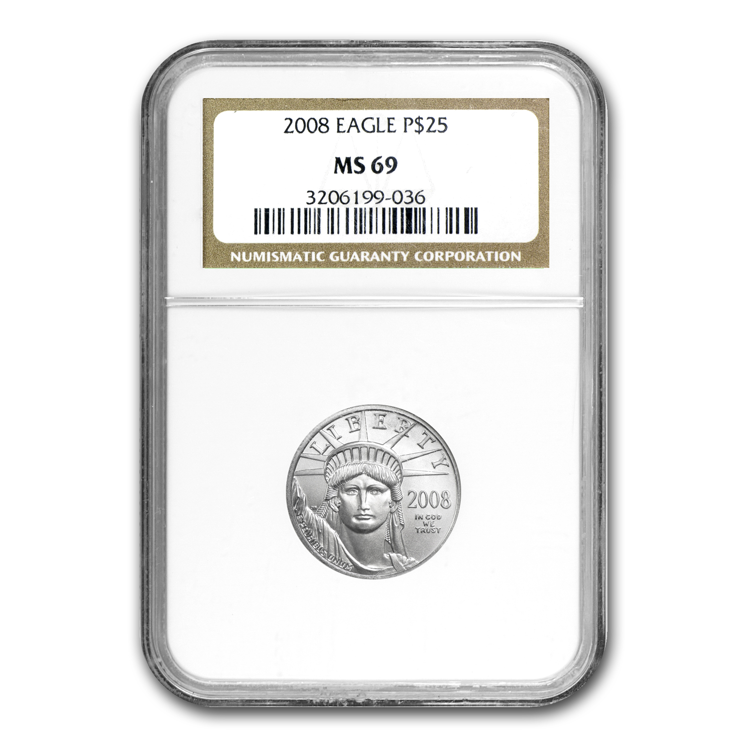 2008 1/4 oz Platinum American Eagle MS-69 NGC