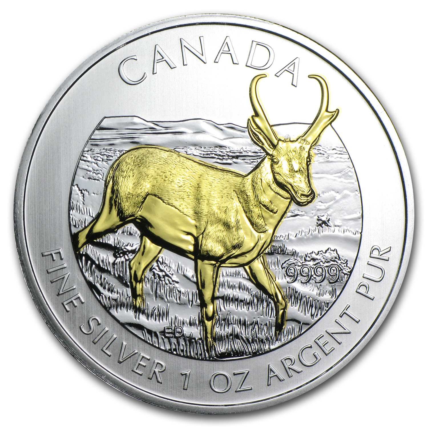 2013 1 oz Silver Canadian Wildlife Series Antelope (Gilded)