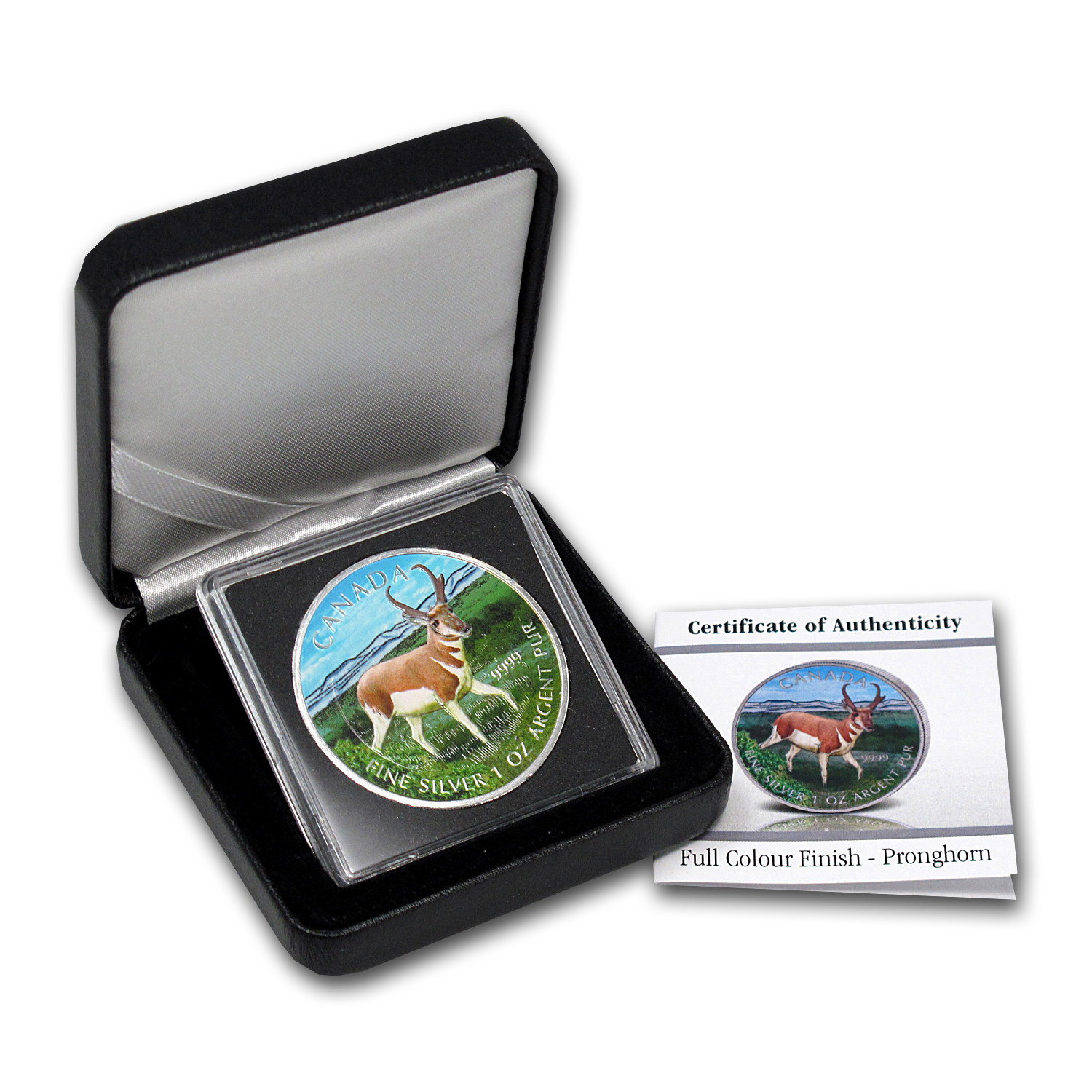 2013 1 oz Silver Canadian Wildlife Series Antelope (Full Color)