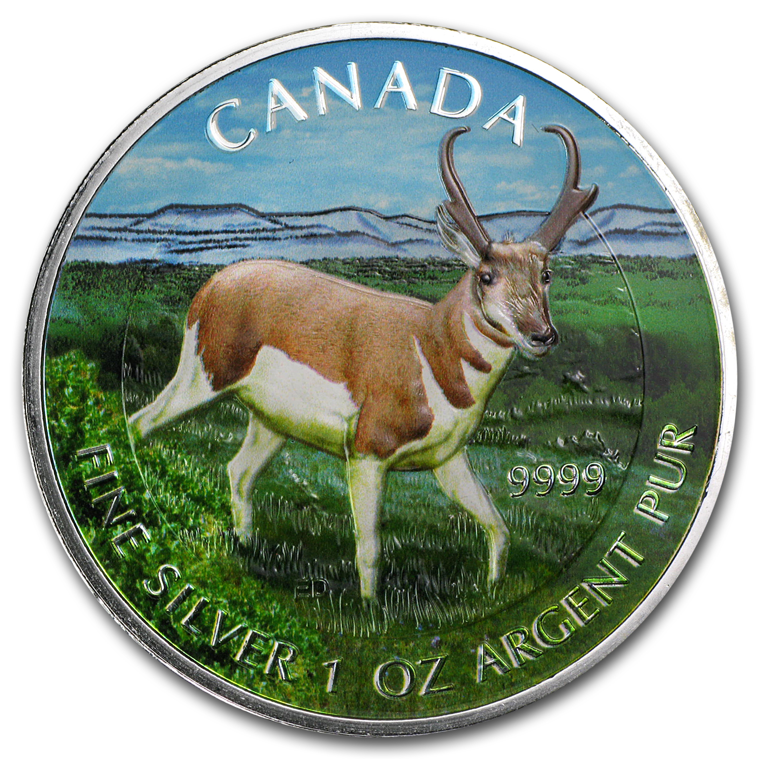 2013 Canada 1 oz Silver Wildlife Series Antelope (Full Color)