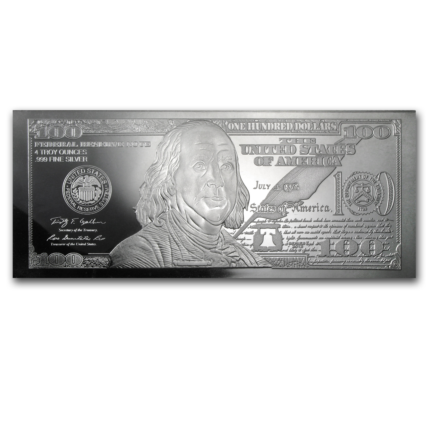 4 oz Silver Bar - 2013 $100 Bill (W/Box & COA)