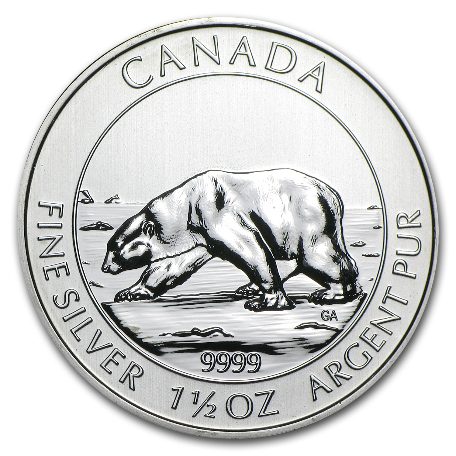 2013 1.5 oz Silver Canadian $8 Polar Bear BU