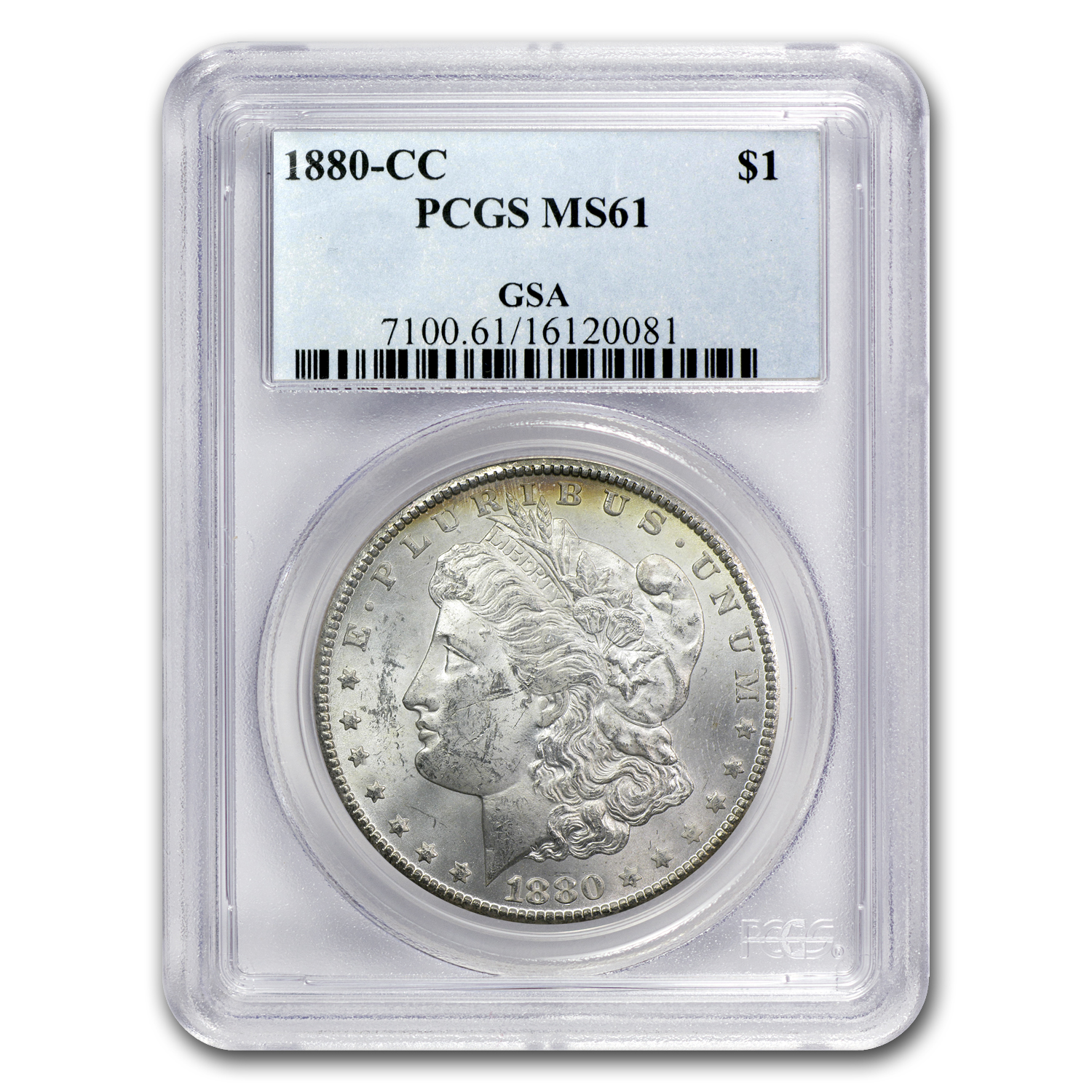 1880-CC Morgan Dollar - MS-61 PCGS - GSA - Toned Reverse